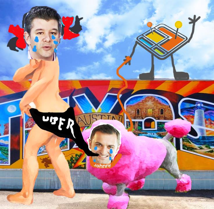 An image from new ride-sharing marketplace Arcade City, spoofing Uber CEO Travis Kalanick and Lyft President John Zimmer.
