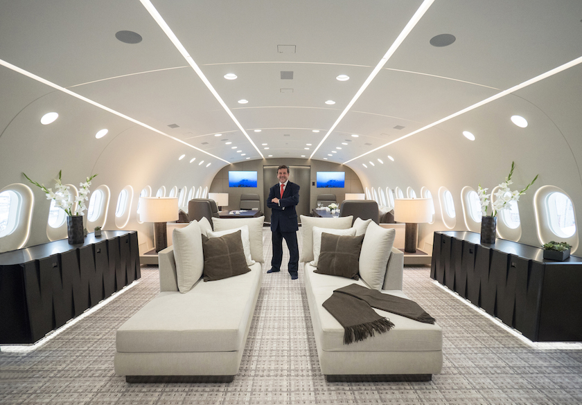 Stephen Vella aboard the reconfigured BBJ 787