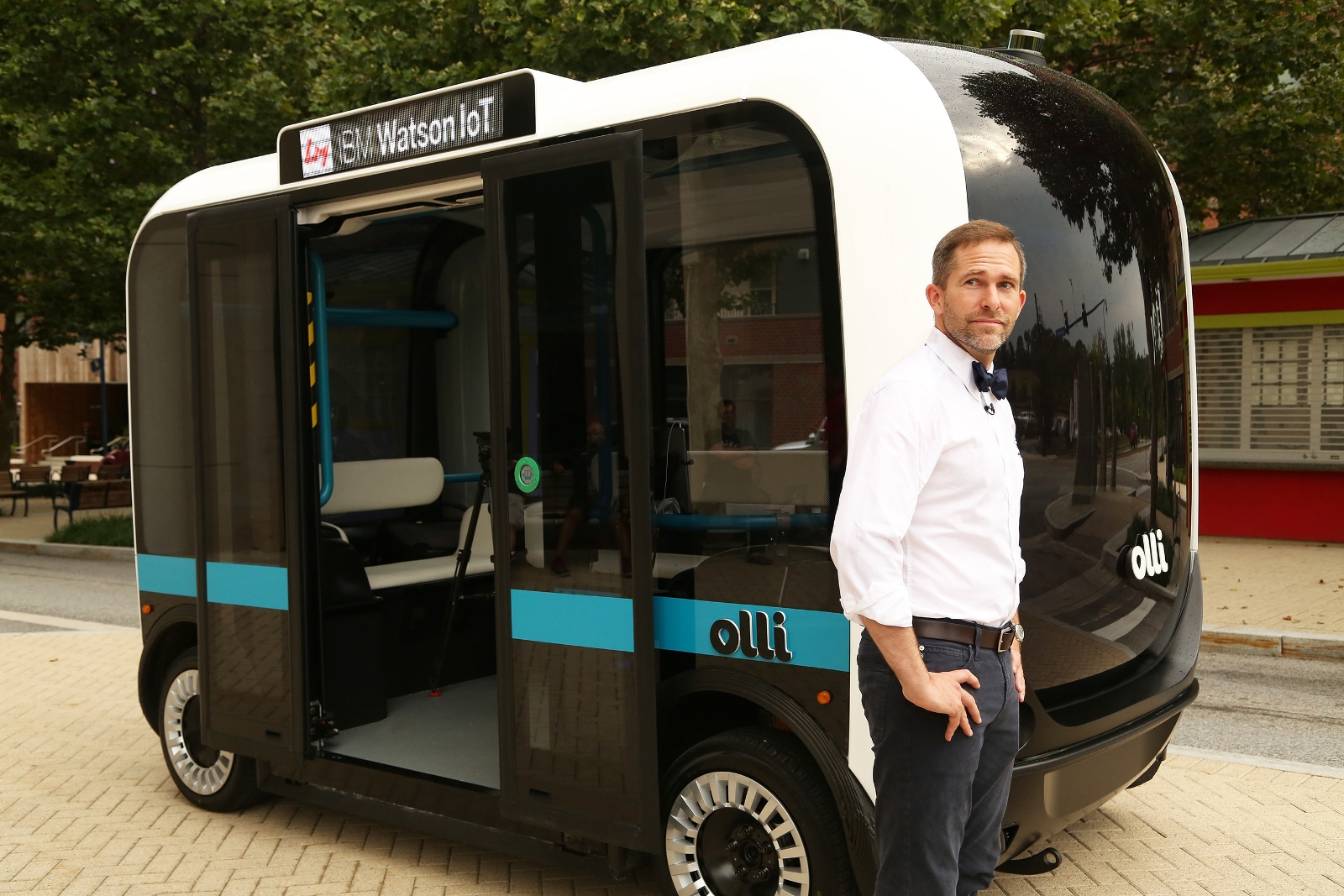 Local Motors CEO and co-founder John B. Rogers, Jr. introduces Olli, on Thurs., June 16, 2016. Olli integrates the advanced computing capabilities of IBM Watson to analyze and learn from high volumes of transportation data.