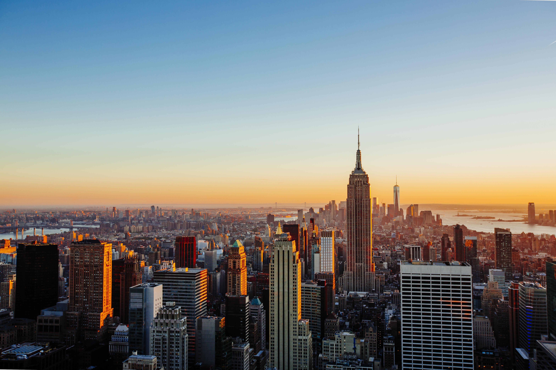 Aerial view of Manhattan skyline at sunset, New York City, USA