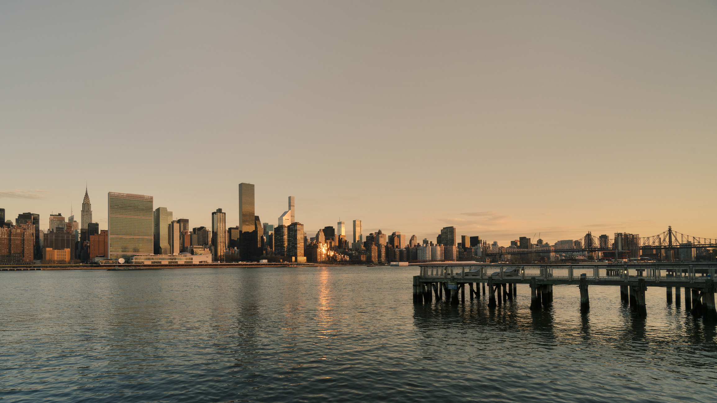 View of mid Manhattan skyline at dawn