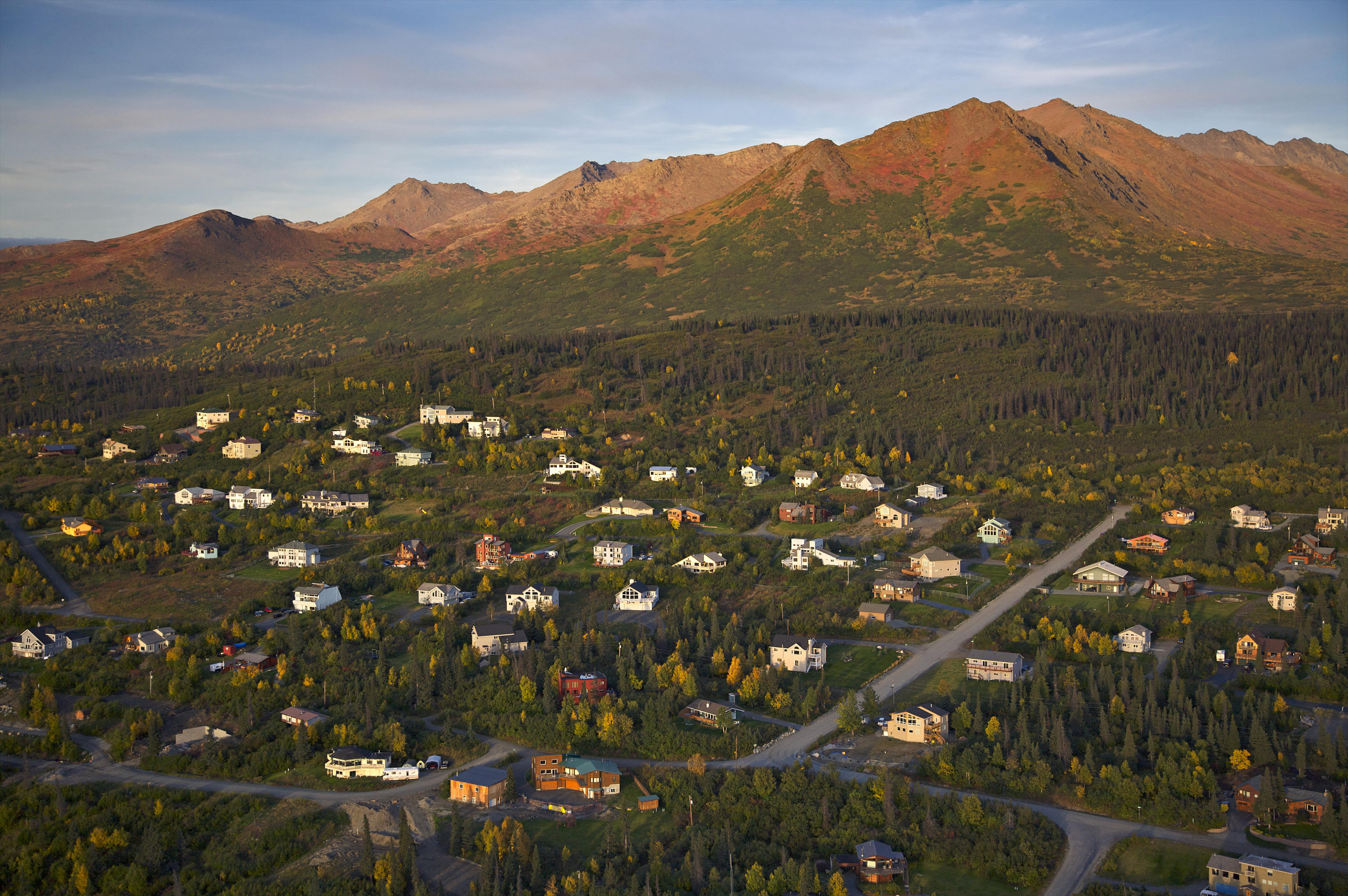 Aerial Over Residential Neighborhoods Along The Anchorage Hillside, Alaska