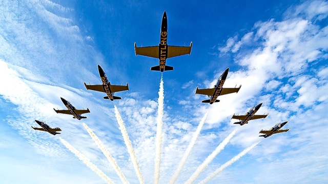 Breitling's privately owned fleet of L-39 jet fighter trainers is the only one to fly passengers in formation during acrobatics.