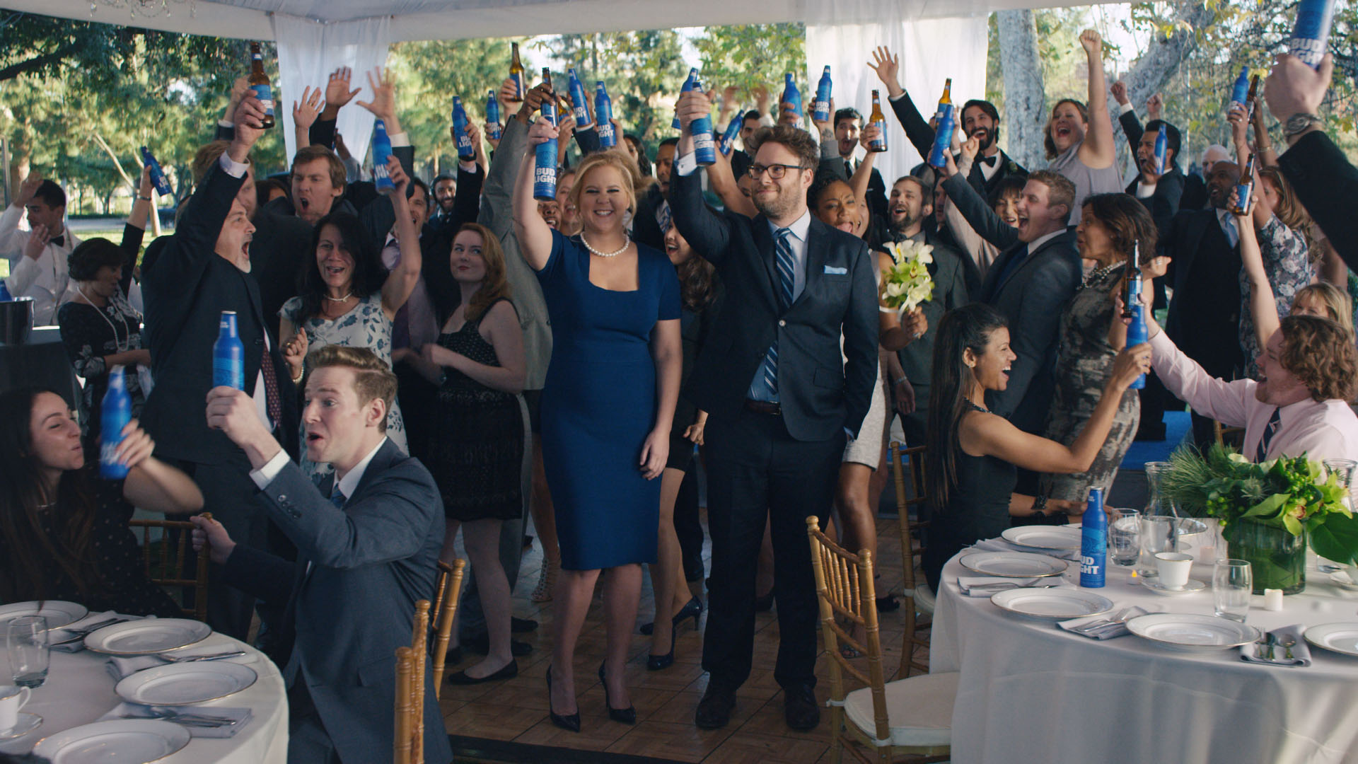 Amy Schumer and Seth Rogen star in Bud Light's new commercial celebrating same-sex marriage.