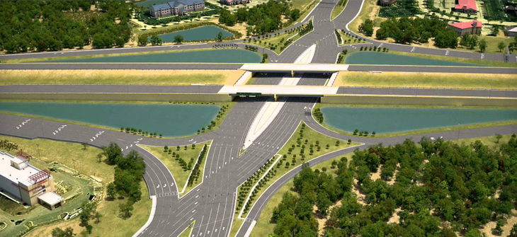 A rendering of a Diverging Diamond Interchange currently under construction near  Sarasota, Florida.