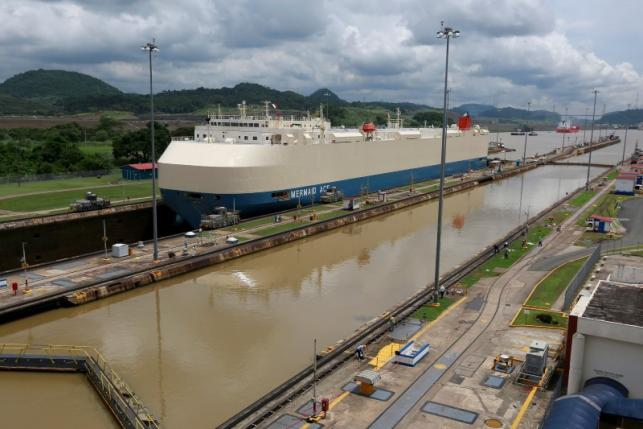 A cargo ship is pictured crossing through the Miraflores locks, in Panama City, Panama