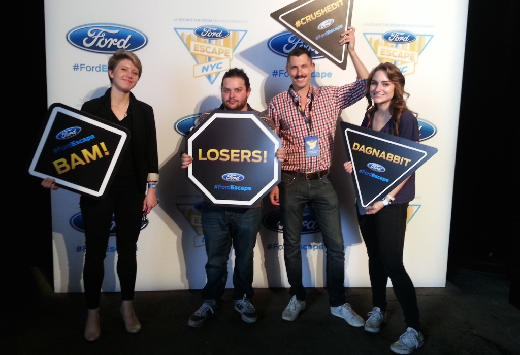 Fortune staffers after completing Ford's Escape the Room.