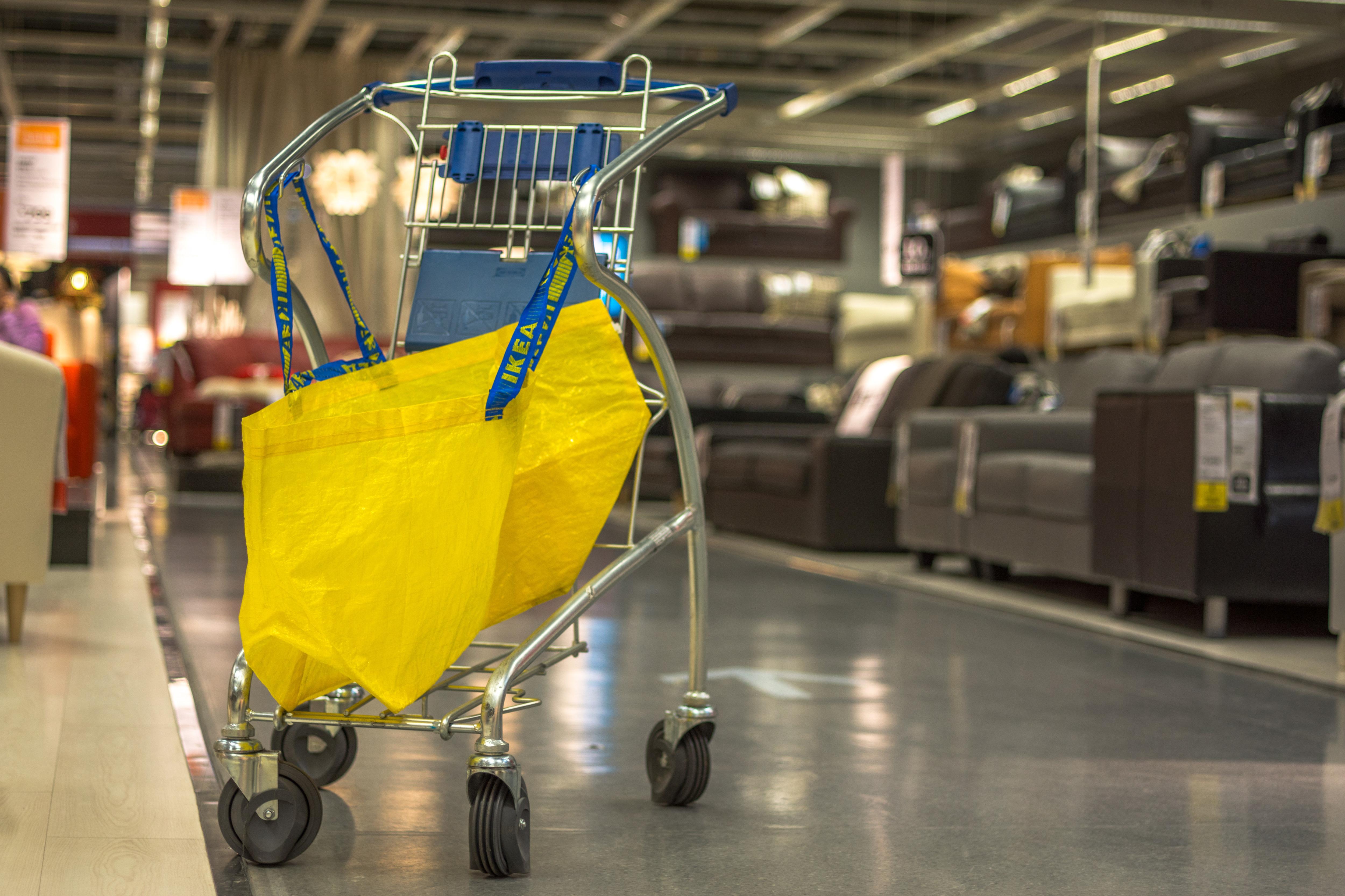 A shopping bag and cart in Beijing Inter Ikea shopping