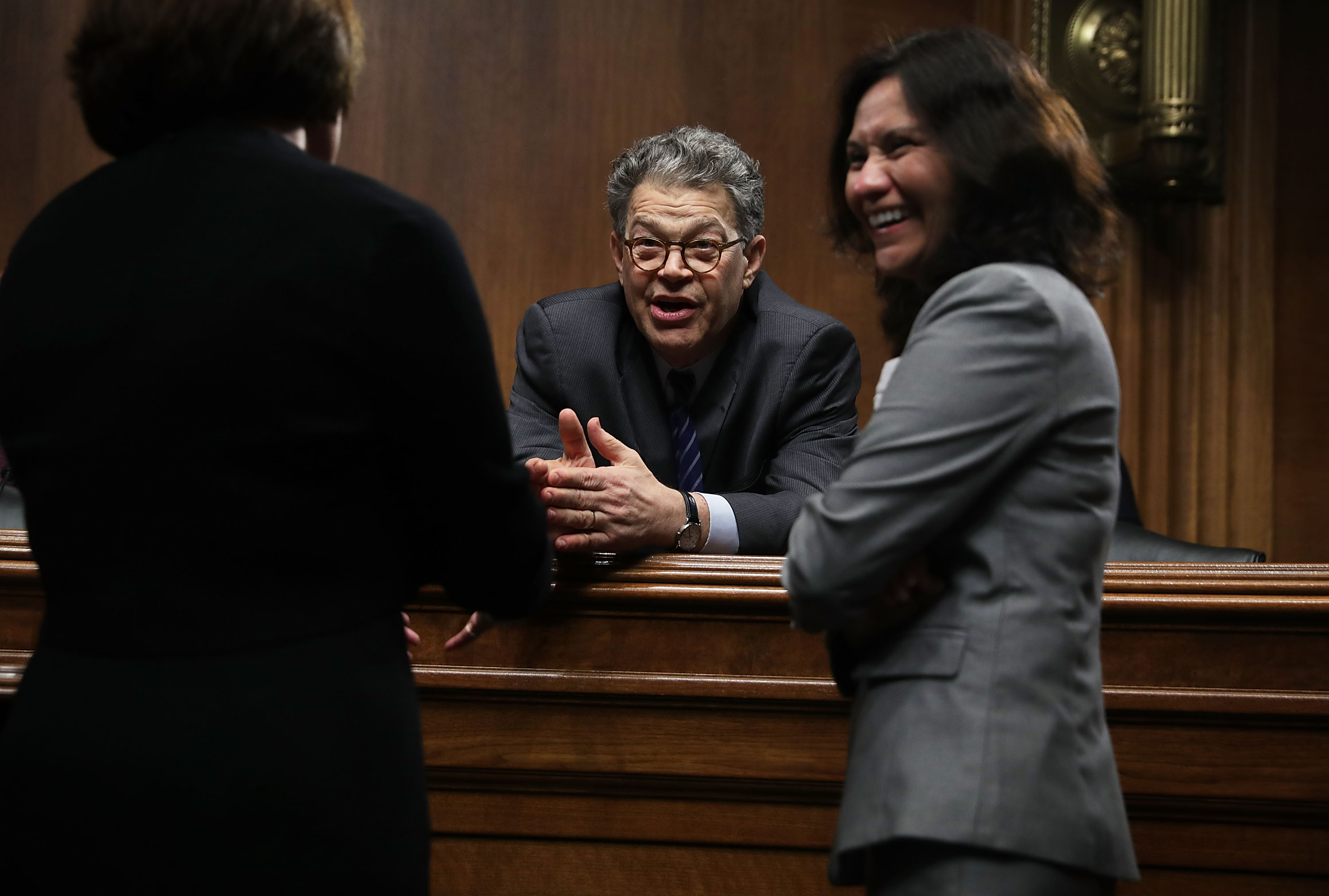 Senator Al Franken talks to Federal Trade Commission Chairwoman Edith Ramirez prior to a hearing before the Privacy, Technology and the Law Subcommittee of Senate Judiciary Committee
