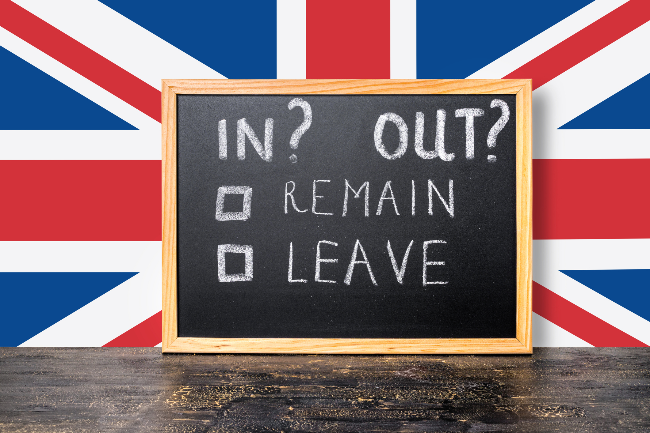 Brexit UK EU referendum concept with flag and handwriting text