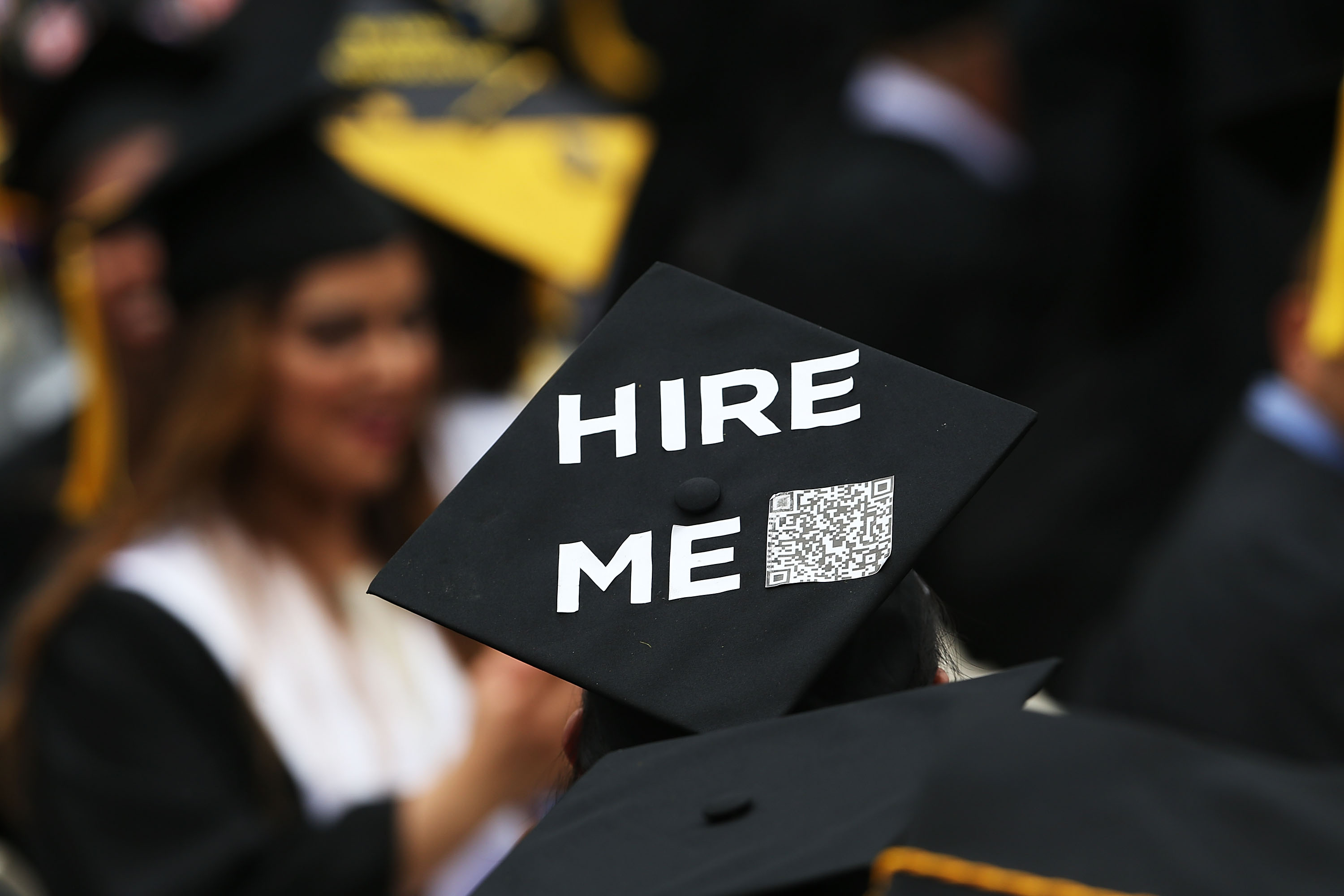 A graduating student's cap during commencement exercises at City College in New York City on June 3, 2016.