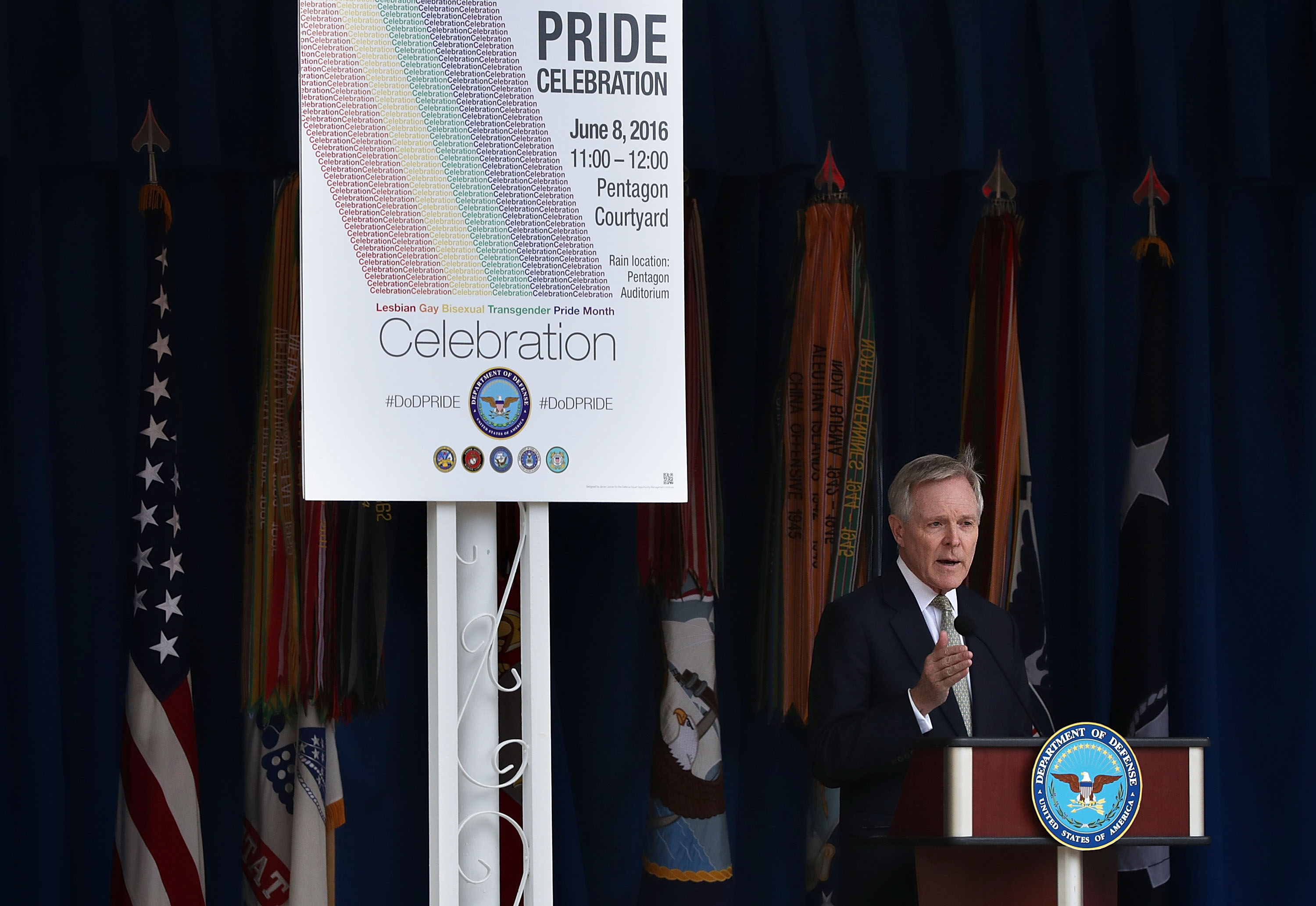 U.S. Navy Secretary Ray Mabus speaks during an LGBT Pride Month Ceremony at the Pentagon