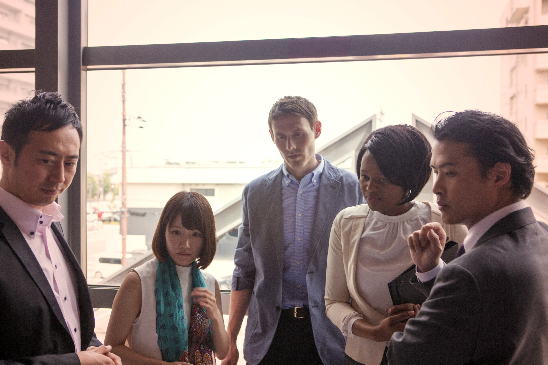 international business partners together at kyoto japan