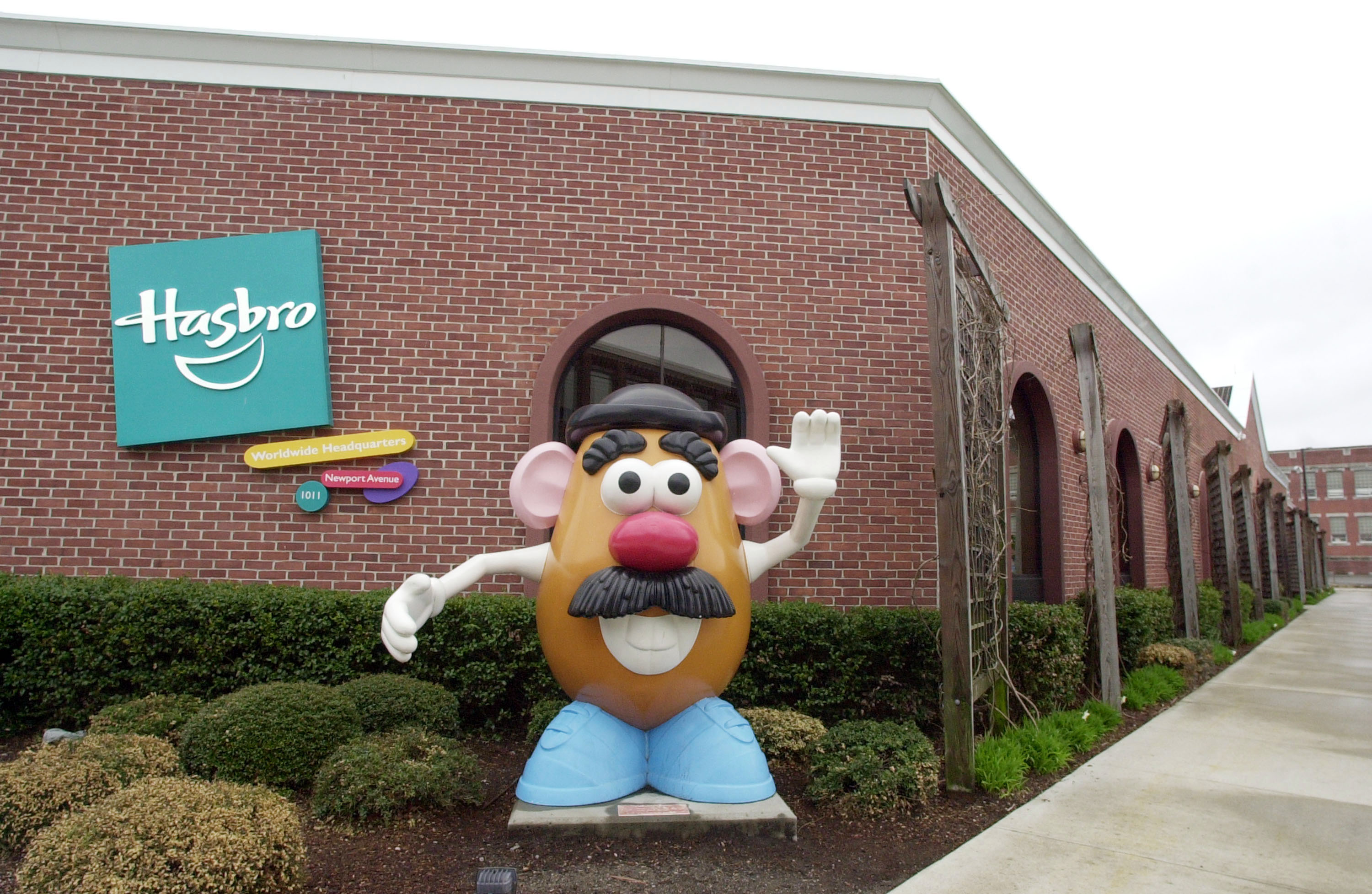 A statue of Mr. Potato Head greets visitors to the corporate