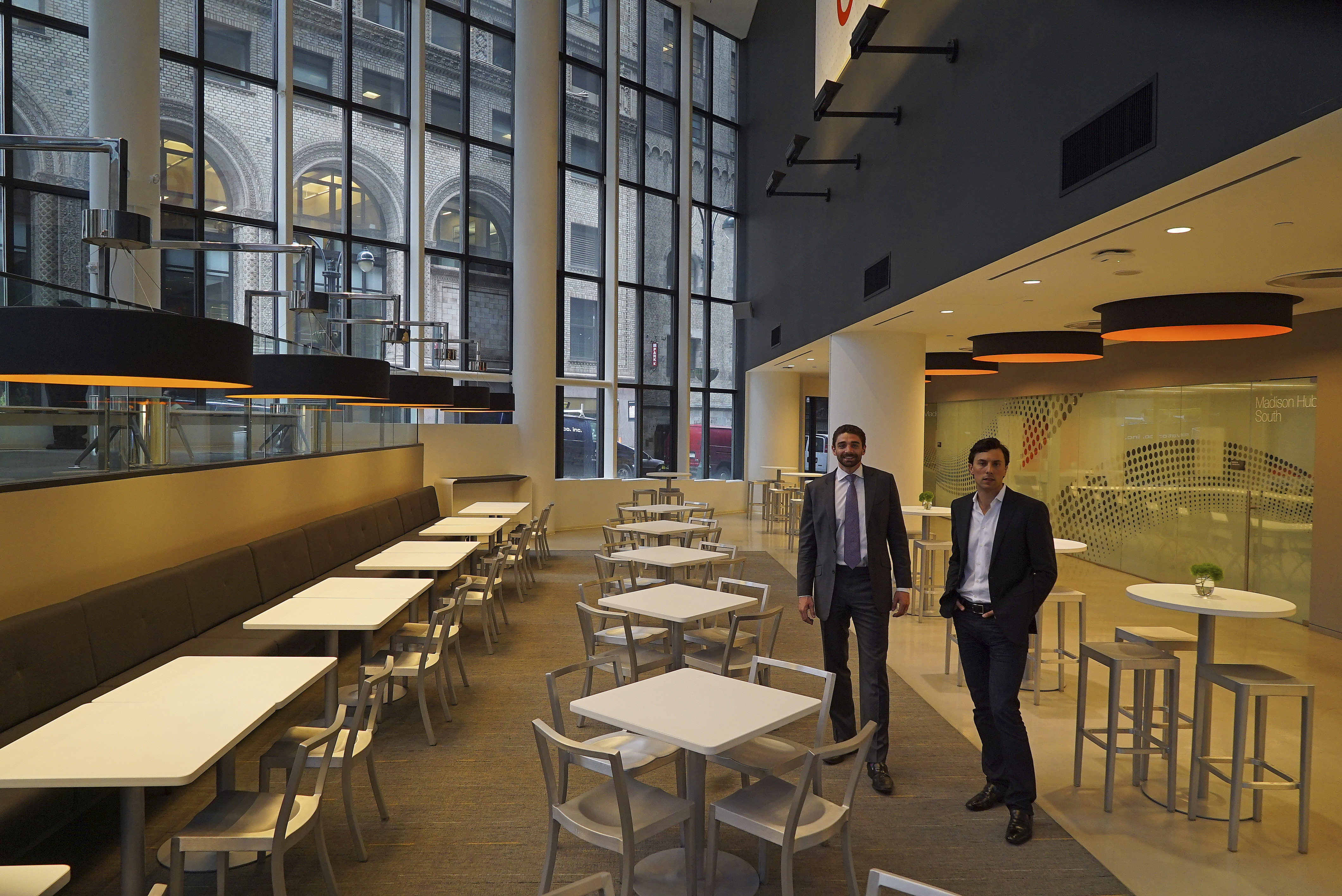Ryan Simonetti, left, and Christopher Kelly, co-founders of Convene, at one of the company?s meeting spaces on Park Avenue in New York.