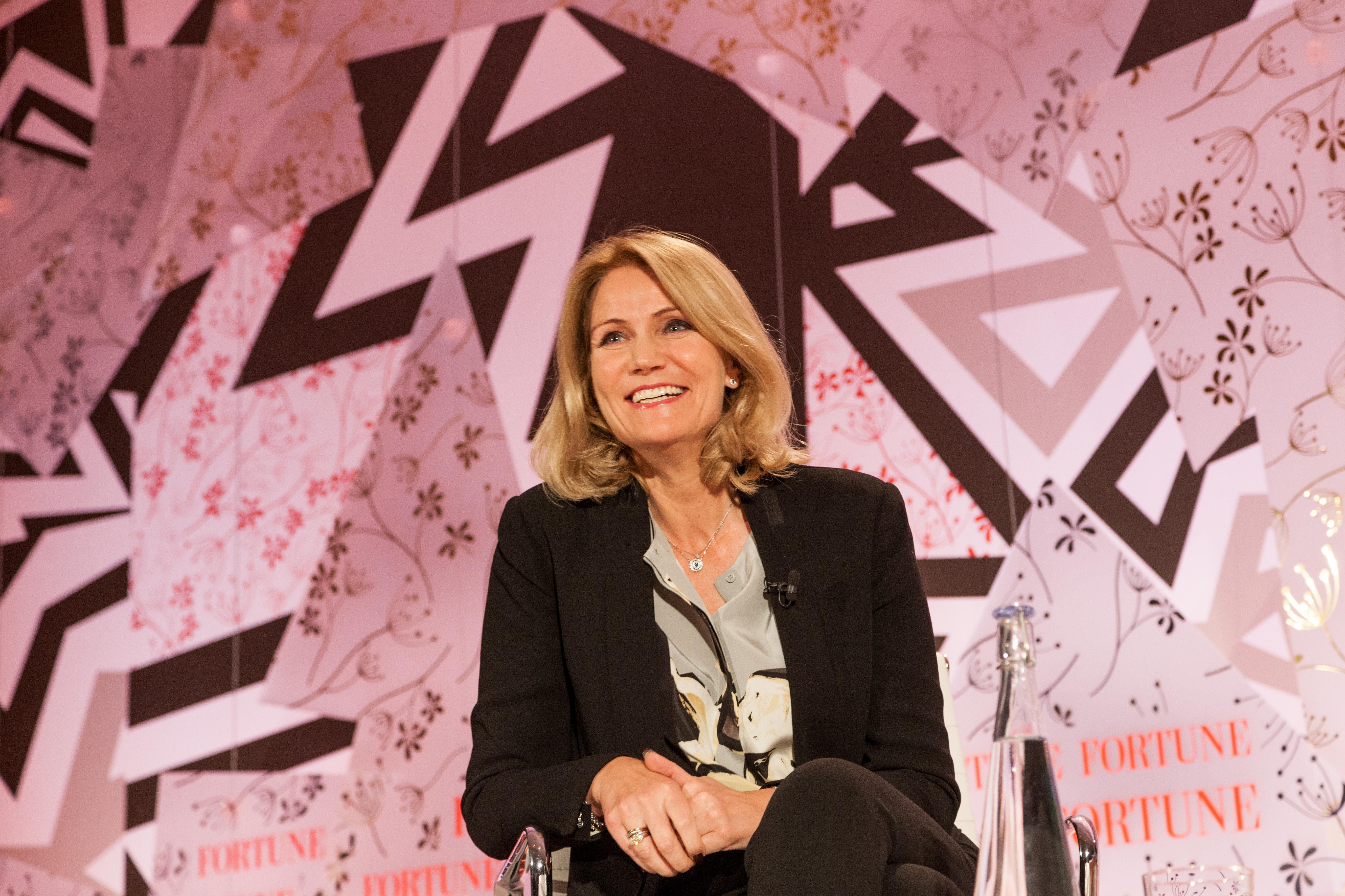 Denmark's former Prime Minister Helle Thorning-Schmidt addresses Fortune' Most Powerful Women Summit in London.