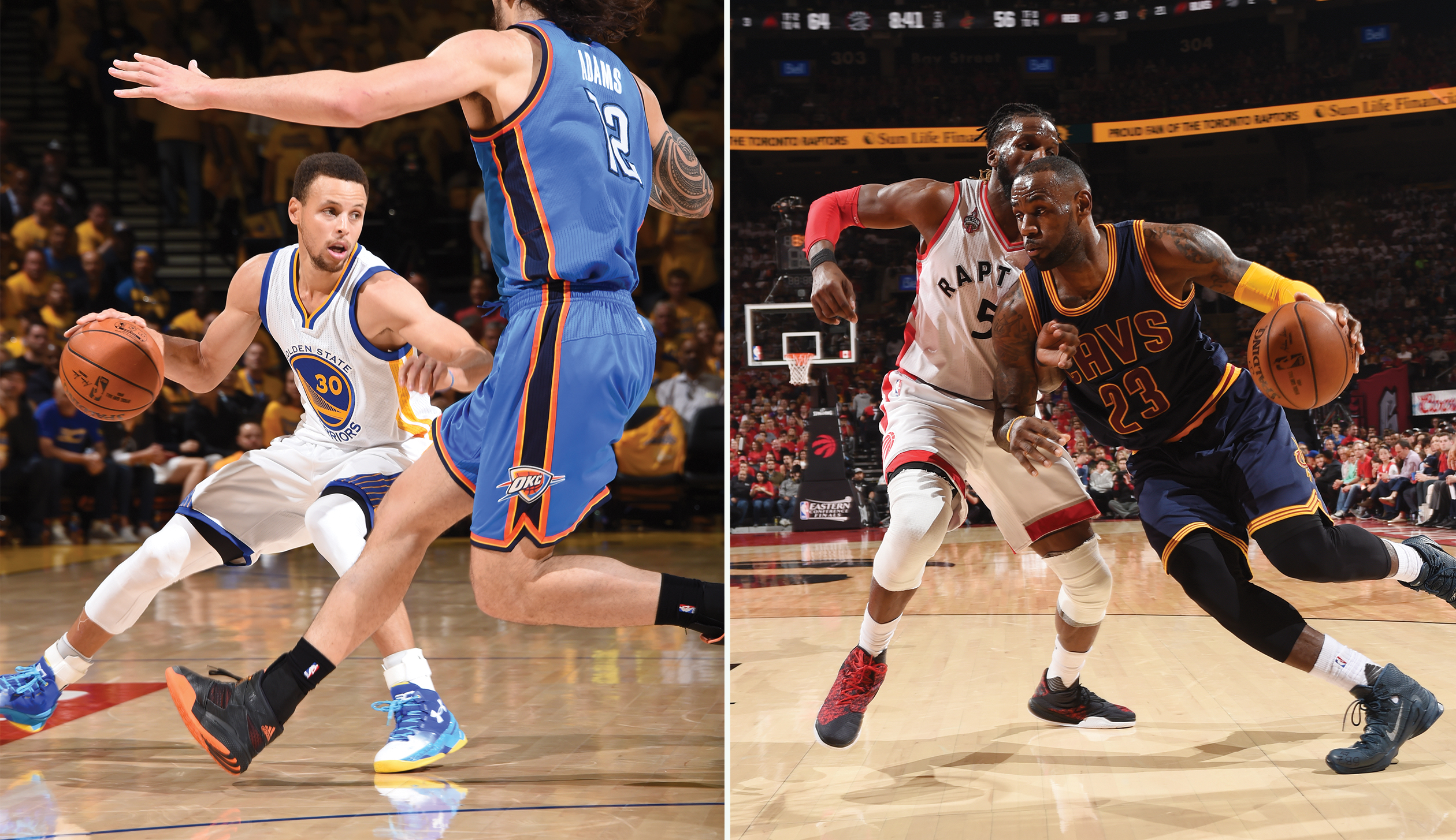 Steph Curry, left and LeBron James will meet tonight for the first game of the NBA finals. Their duel also represents a battle between athletic endorsers Under Armour (which backs Curry) and Nike athlete James.