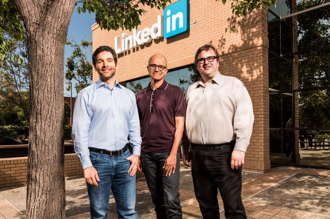 LinkedIN CEO Jeff Weiner, Microsoft CEO Satya Nadella, LinkedIn chairman Reid Hoffman. (l. to r.)