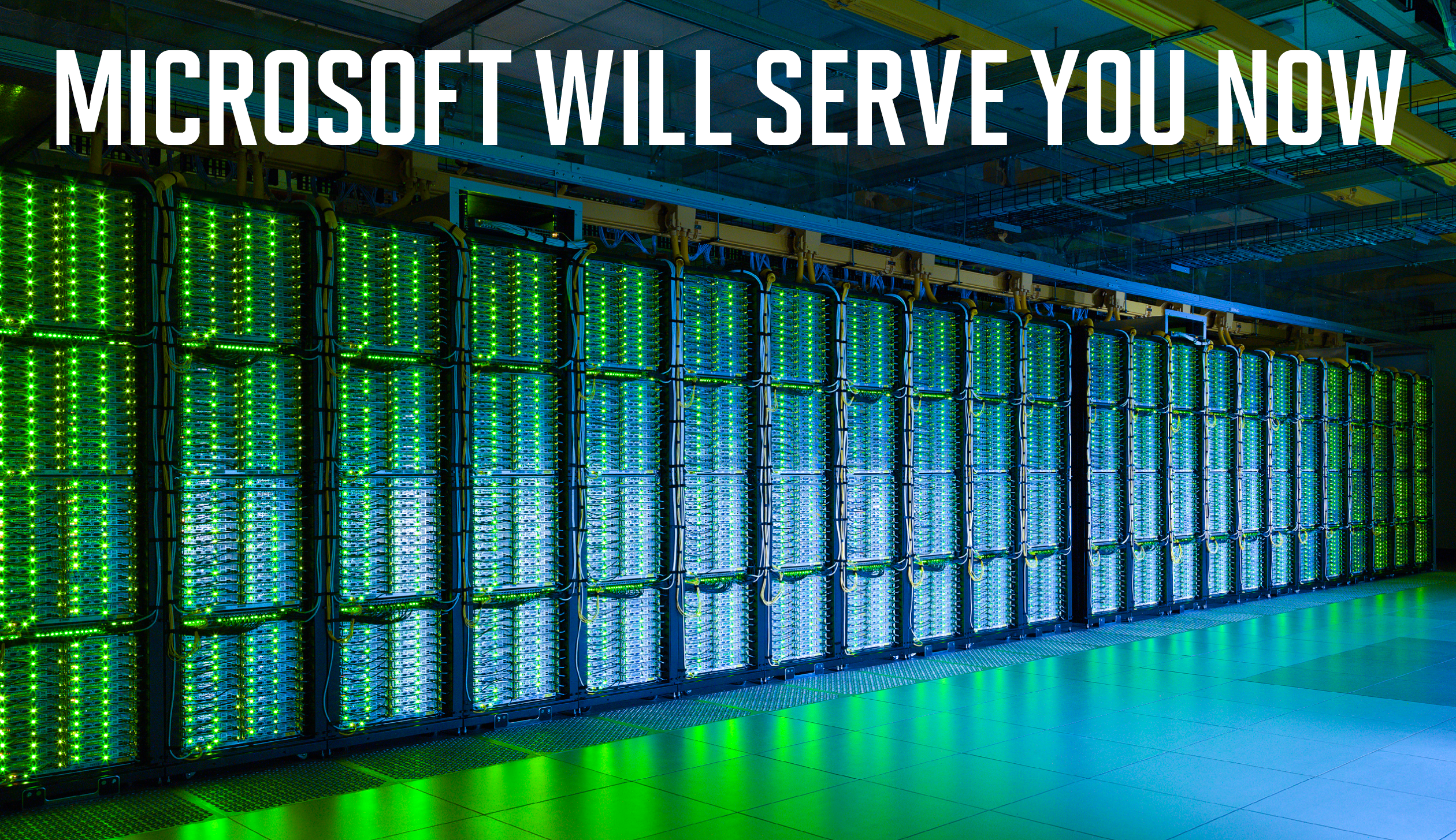 A Healthy Glow: Microsoft data centers, like this one in central Washington state, are powered by over a million servers and form the backbone of services like Azure, Office 365, and Xbox Live.