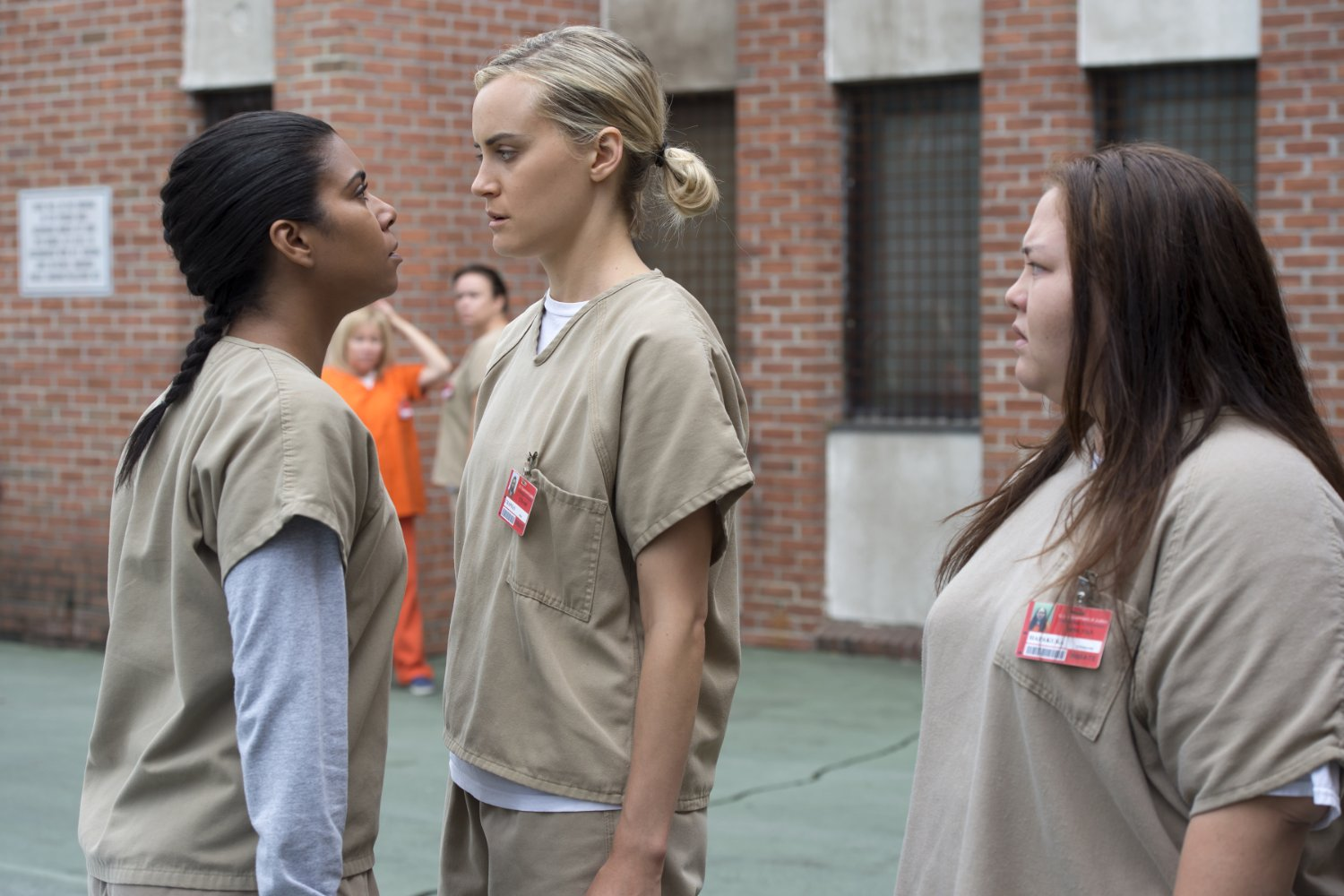 "Jolene Purdy, Jessica Pimentel, and Taylor Schilling in ""Orange Is the New Black."""