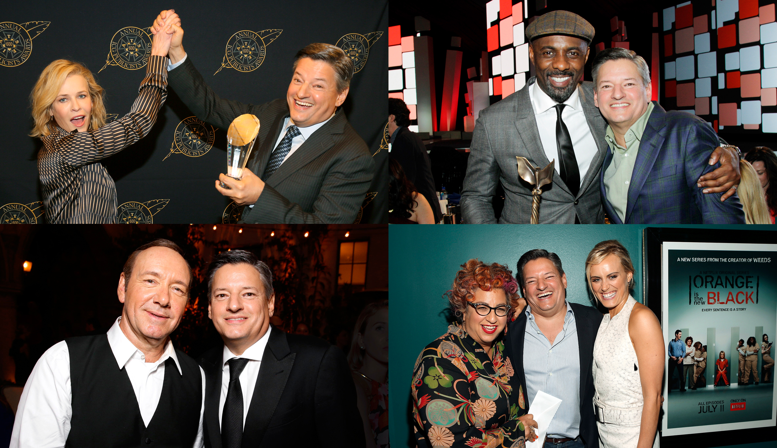Red-carpet: Sarandos gets face time with (Clockwise from top left) comedian and Netflix talk-show host Chelsea Handle; Idris Elba, star of Netflix's Beasts of No Nation, at the Independent Spirit Awards, at the ICG publicist awards; Jenji Kohan (left) and Taylor Schilling, creator and star, respectively, of Netflix's Orange Is The New Black; House of Cards star Kevin Spacey, at a Netflix Emmy's party.