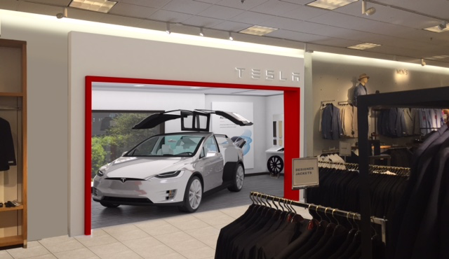 A rendering of the Tesla store in Nordstrom department store.