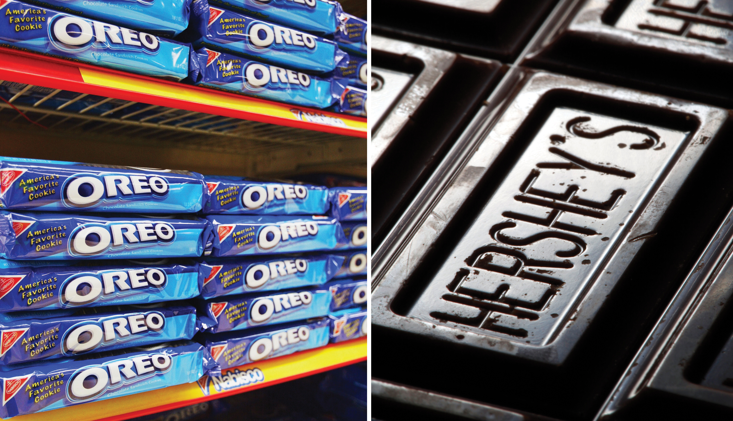 A rumored Big Food deal would combine Mondelez, owner of Oreo cookies, with chocolate maker Hershey.
