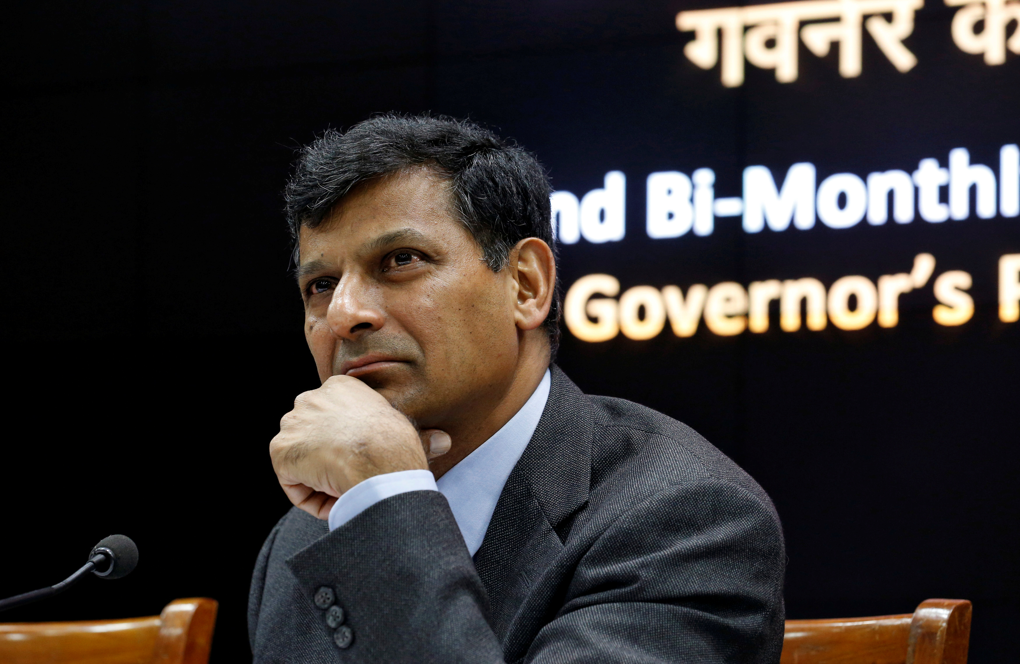 RBI Governor Rajan attends a news conference after their bimonthly monetary policy review in Mumbai