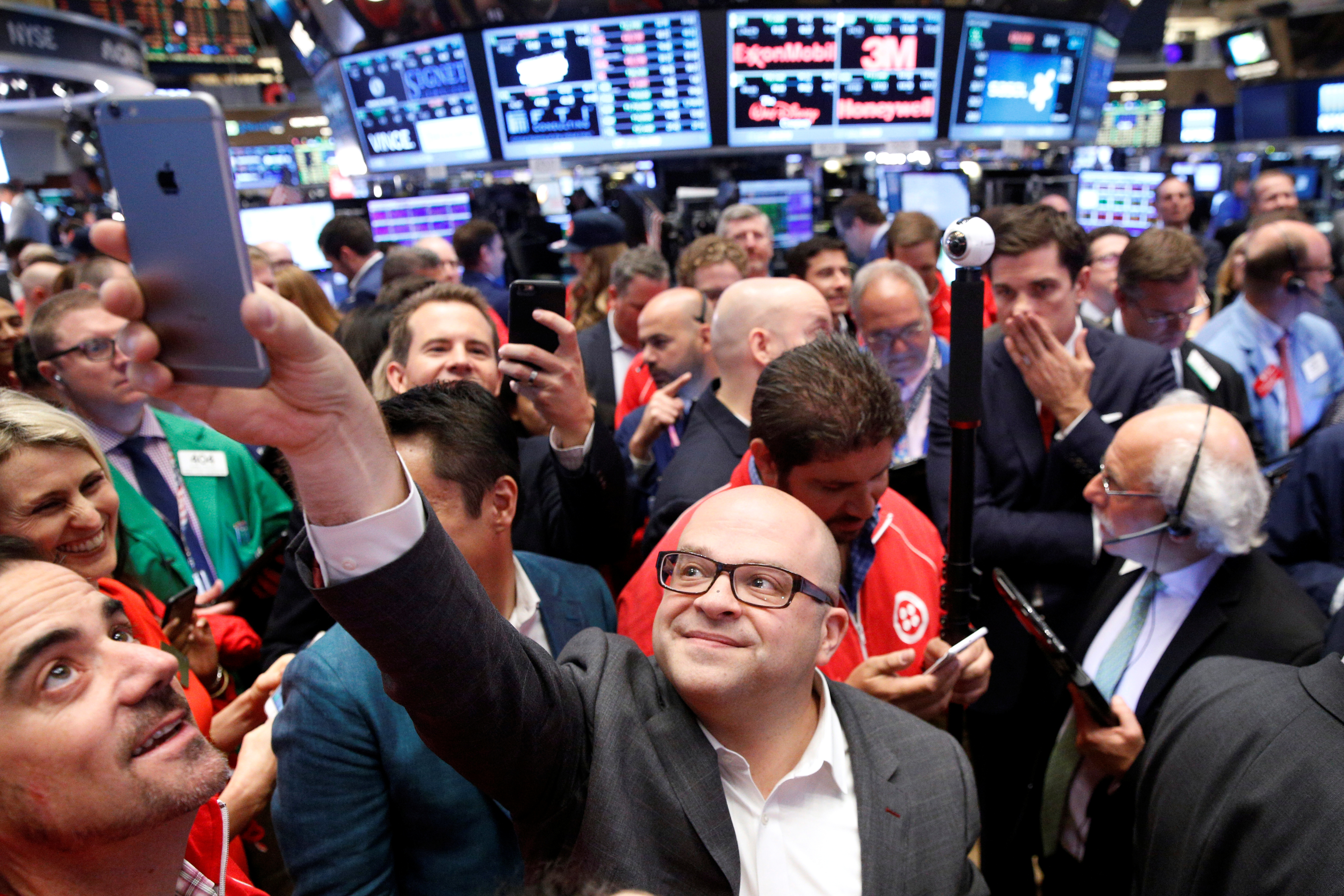 Jeff Lawson, Founder, CEO, & Chairman of Twilio takes a selfie photo during his company's IPO on the floor of the NYSE
