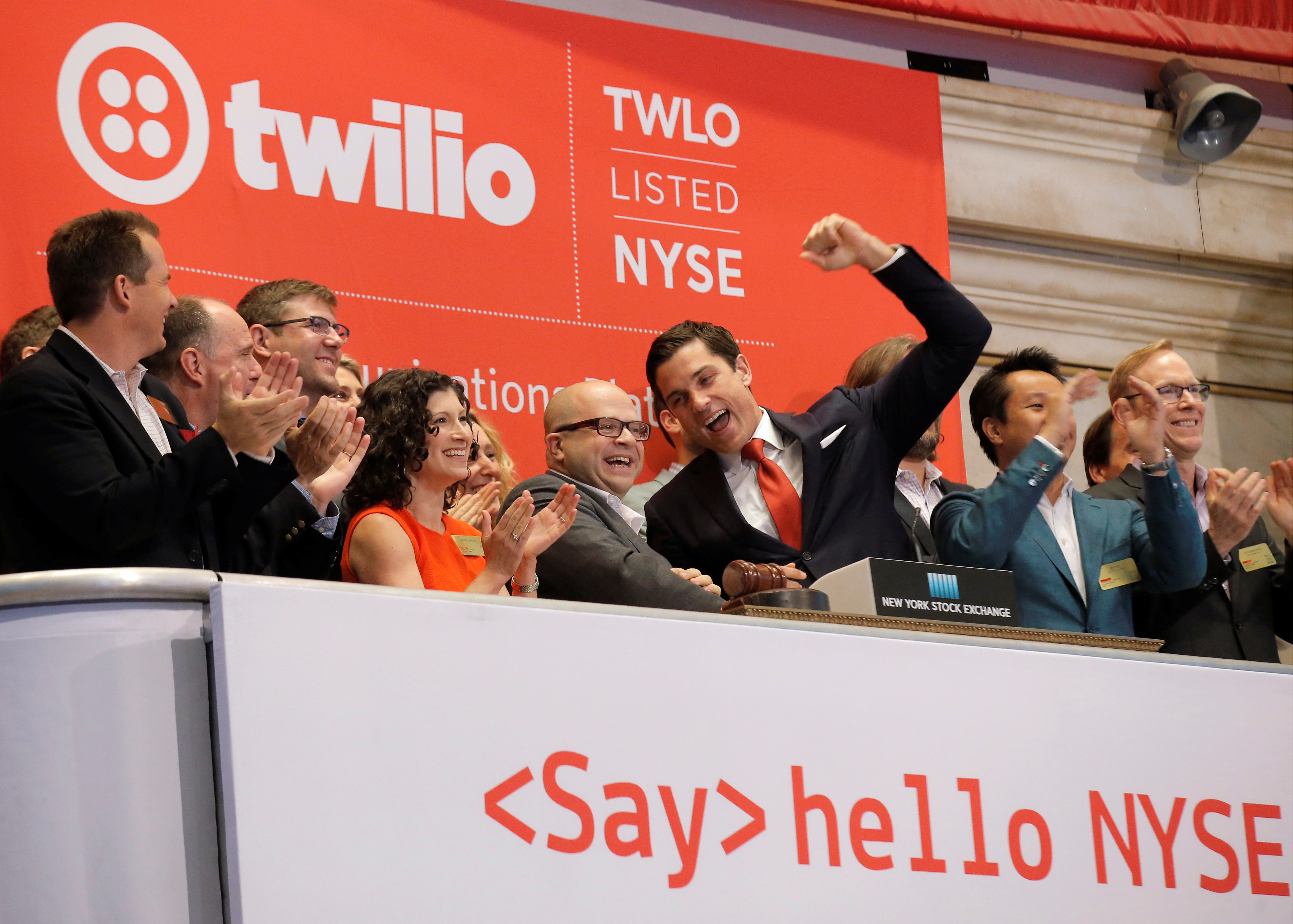 Jeff Lawson, Founder, CEO, & Chairman of Twilio rings the opening bell to celebrate his company's IPO at the NYSE
