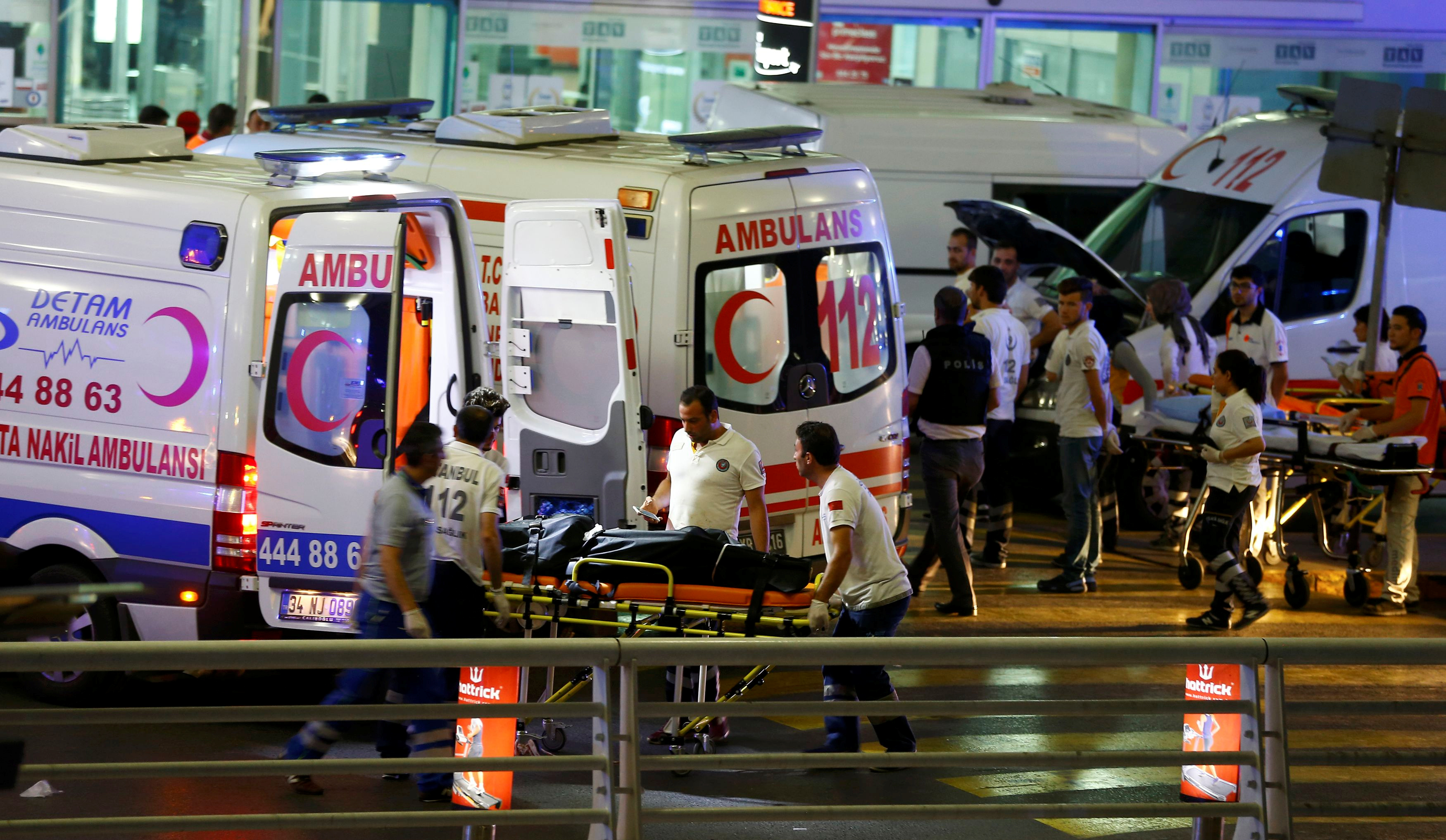 Paramedics push a stretcher at Turkey's largest airport, Istanbul Ataturk