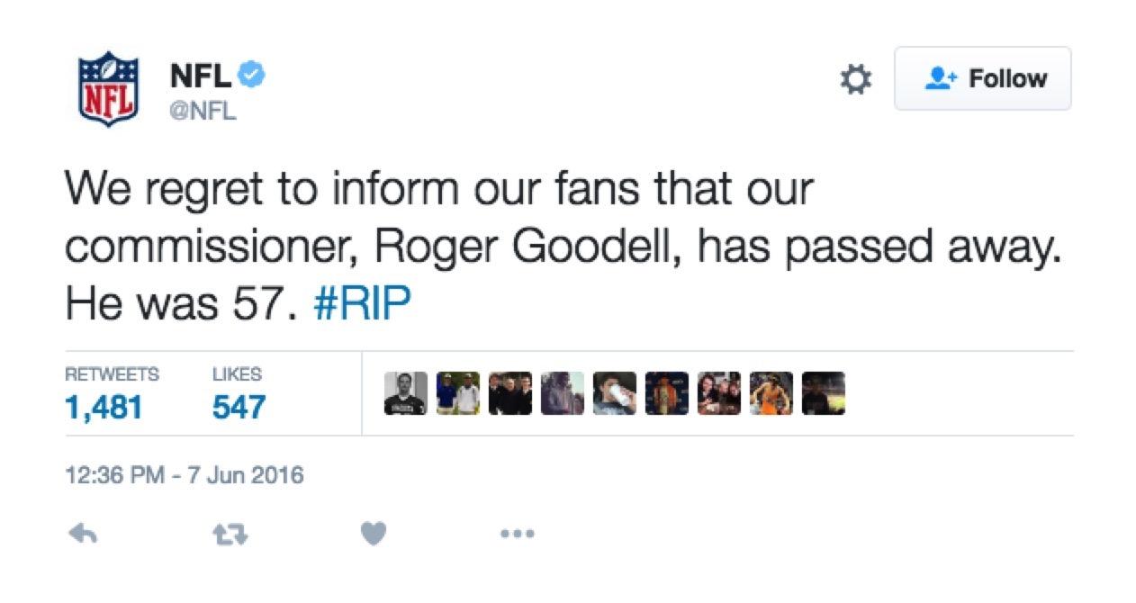 False tweet on NFL account