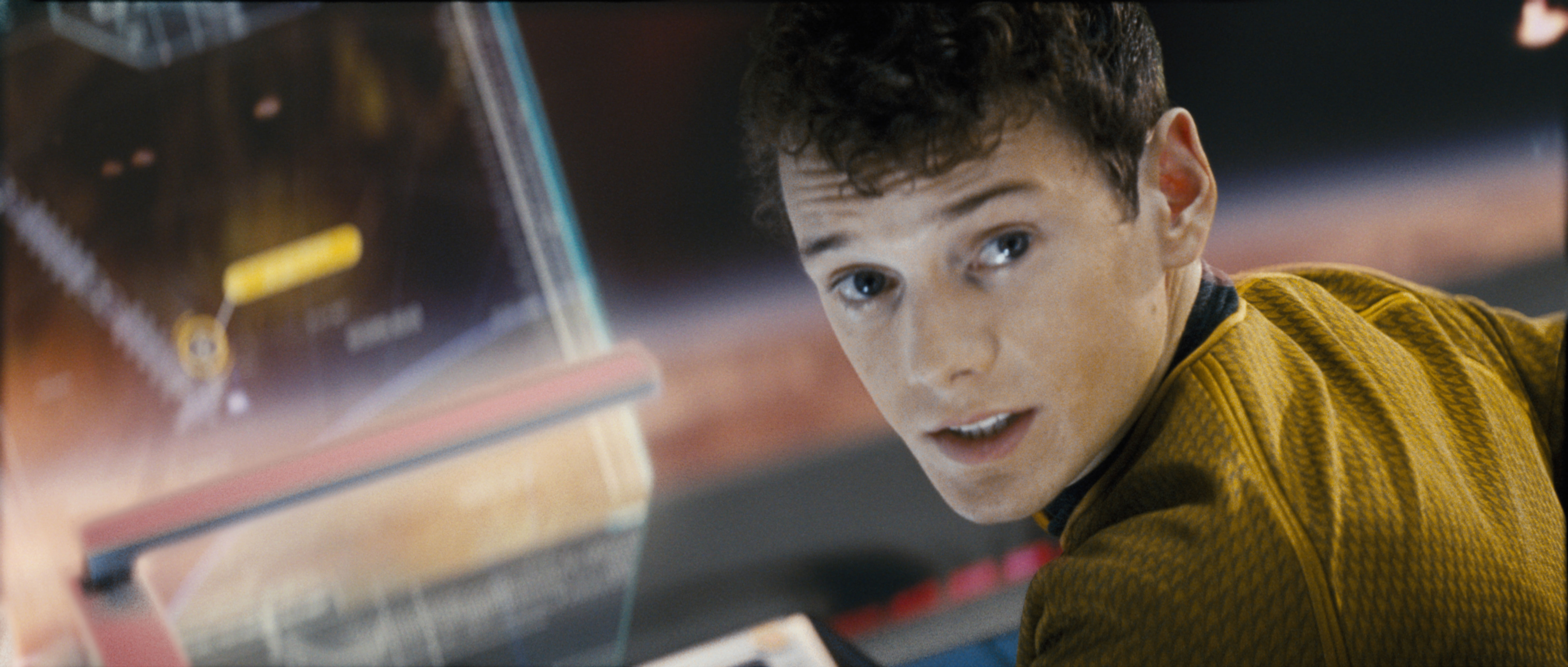 "Anton Yelchin as Chekhov in ""Star Trek."""