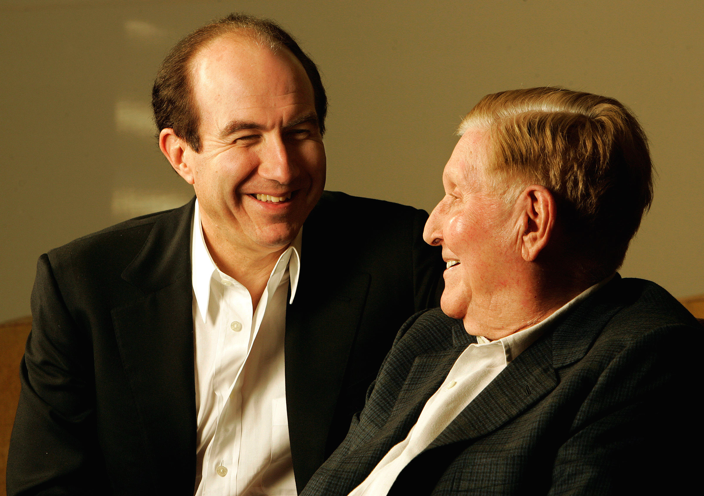 Viacom CEO Philippe Dauman, left, and Viacom Chairman Sumner Redstone photographed at Redstone's ho