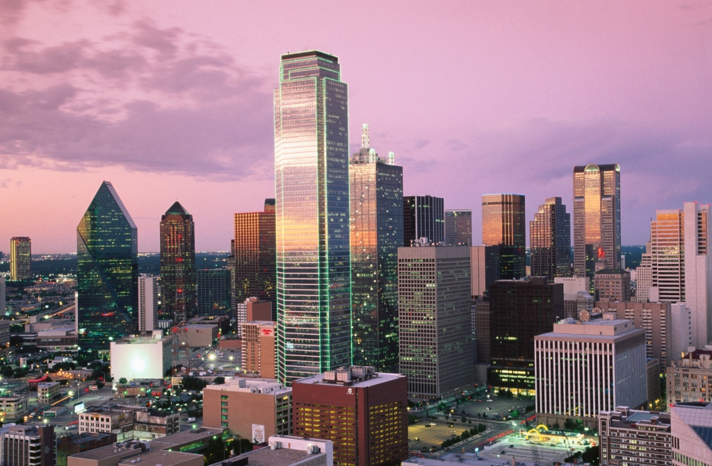Downtown at dusk from Reunion Tower, Dallas, Texas, United States of America, North America