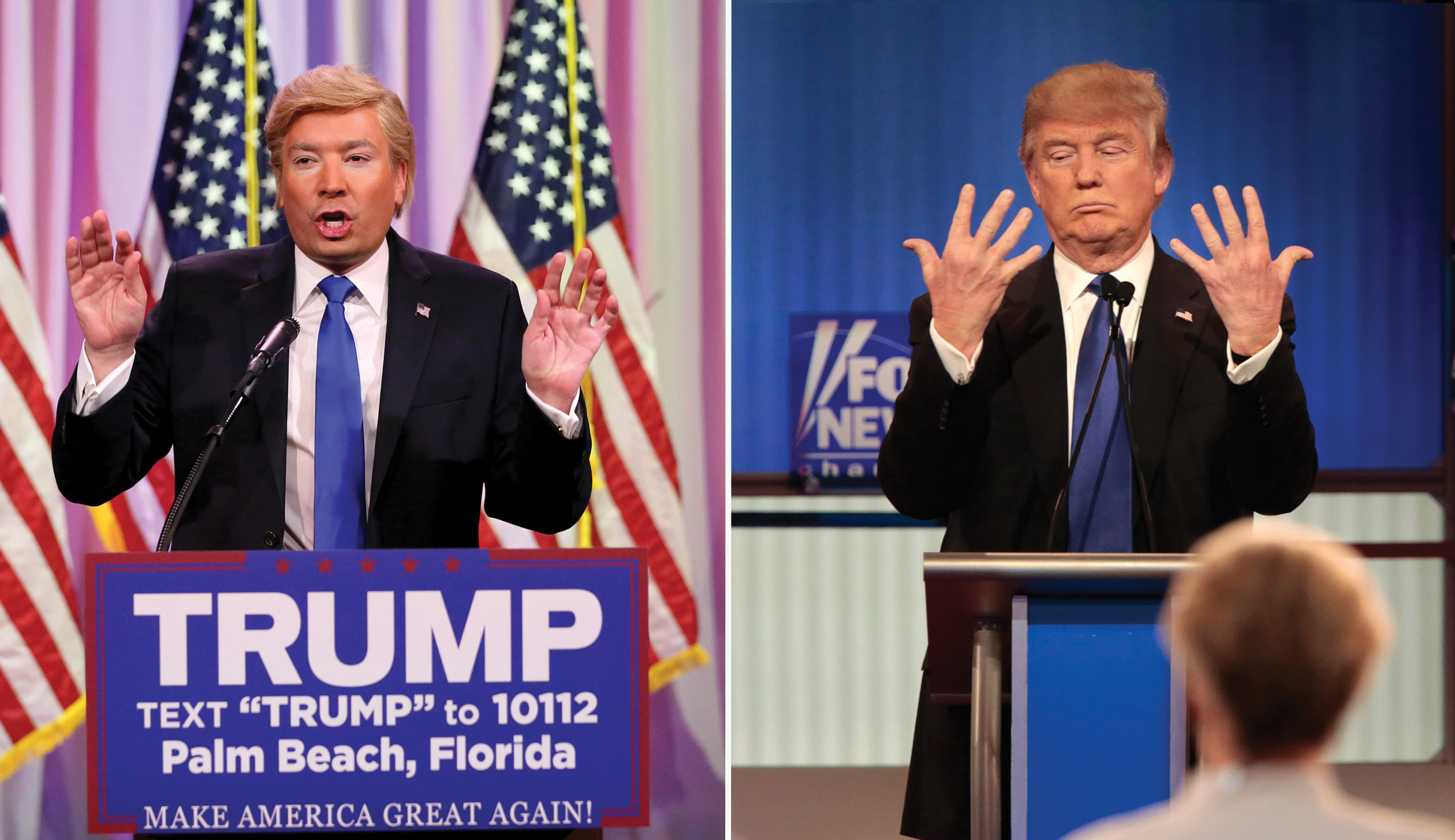 Jimmy Fallon, left, on  on March 2, 2016; and Donald Trump, right, during the Republican presidential debate in Detroit on March 3, 2016.