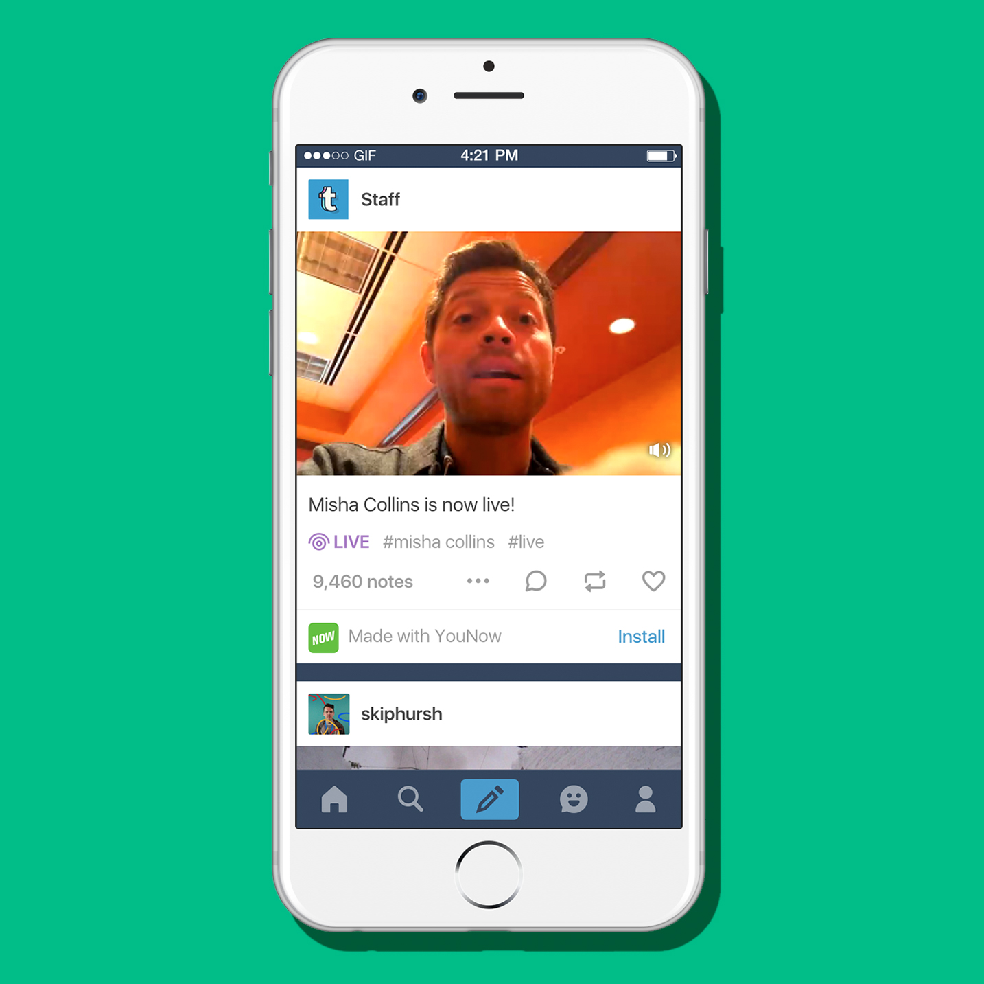 Tumblr mobile app with live video.