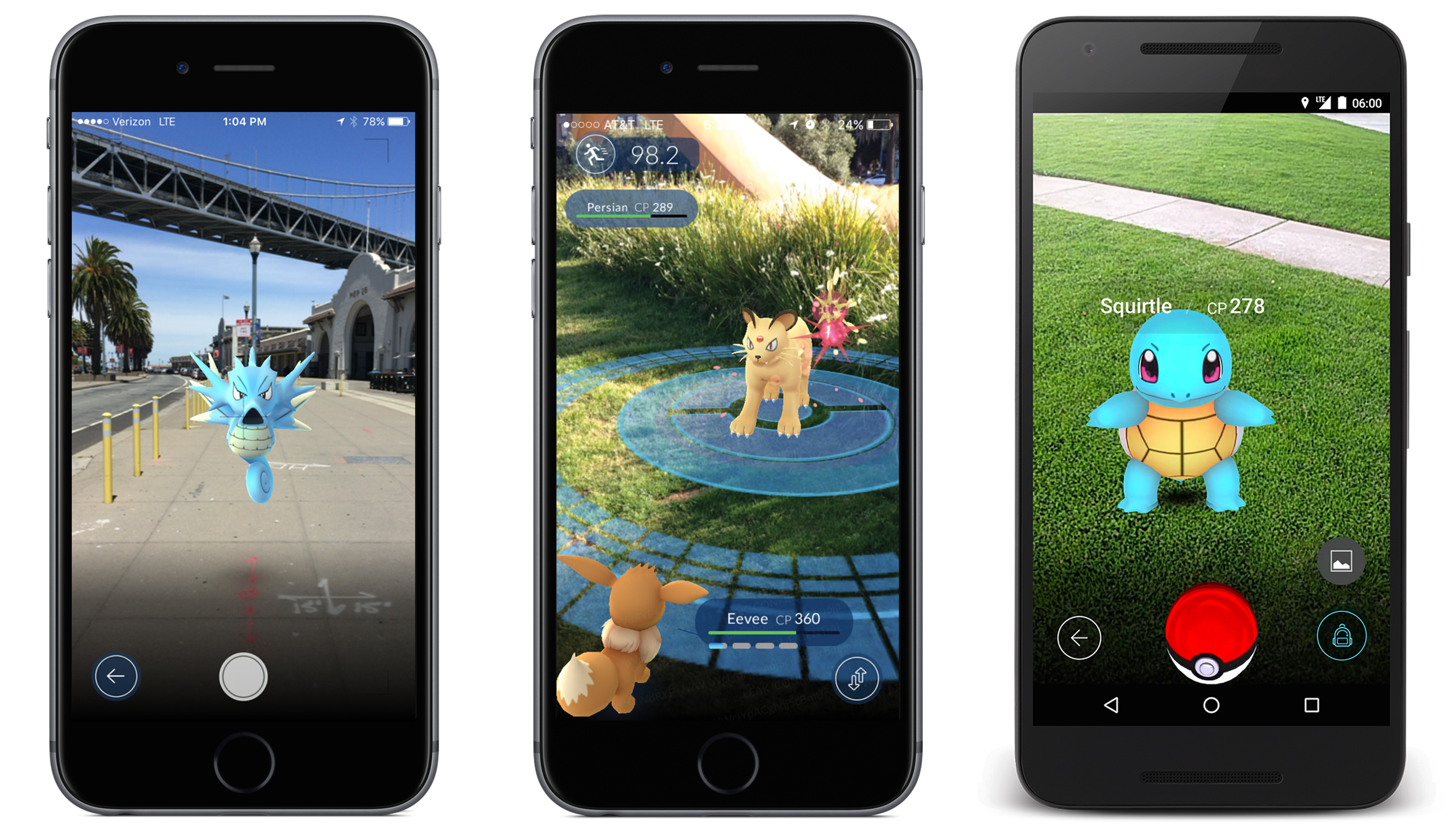 Pokemon Go screenshots.