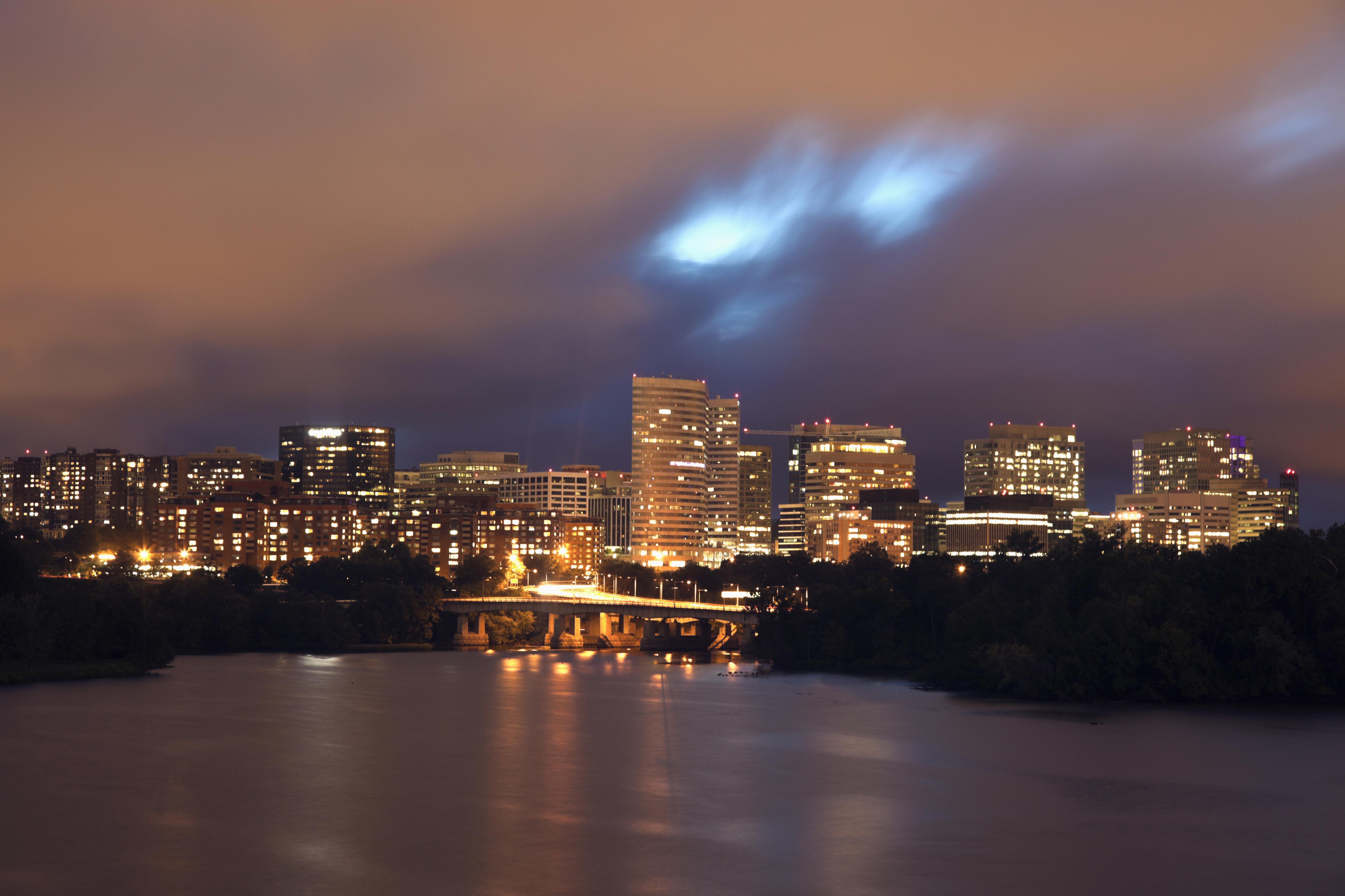 USA, Virginia, Arlington, City skyline at dusk