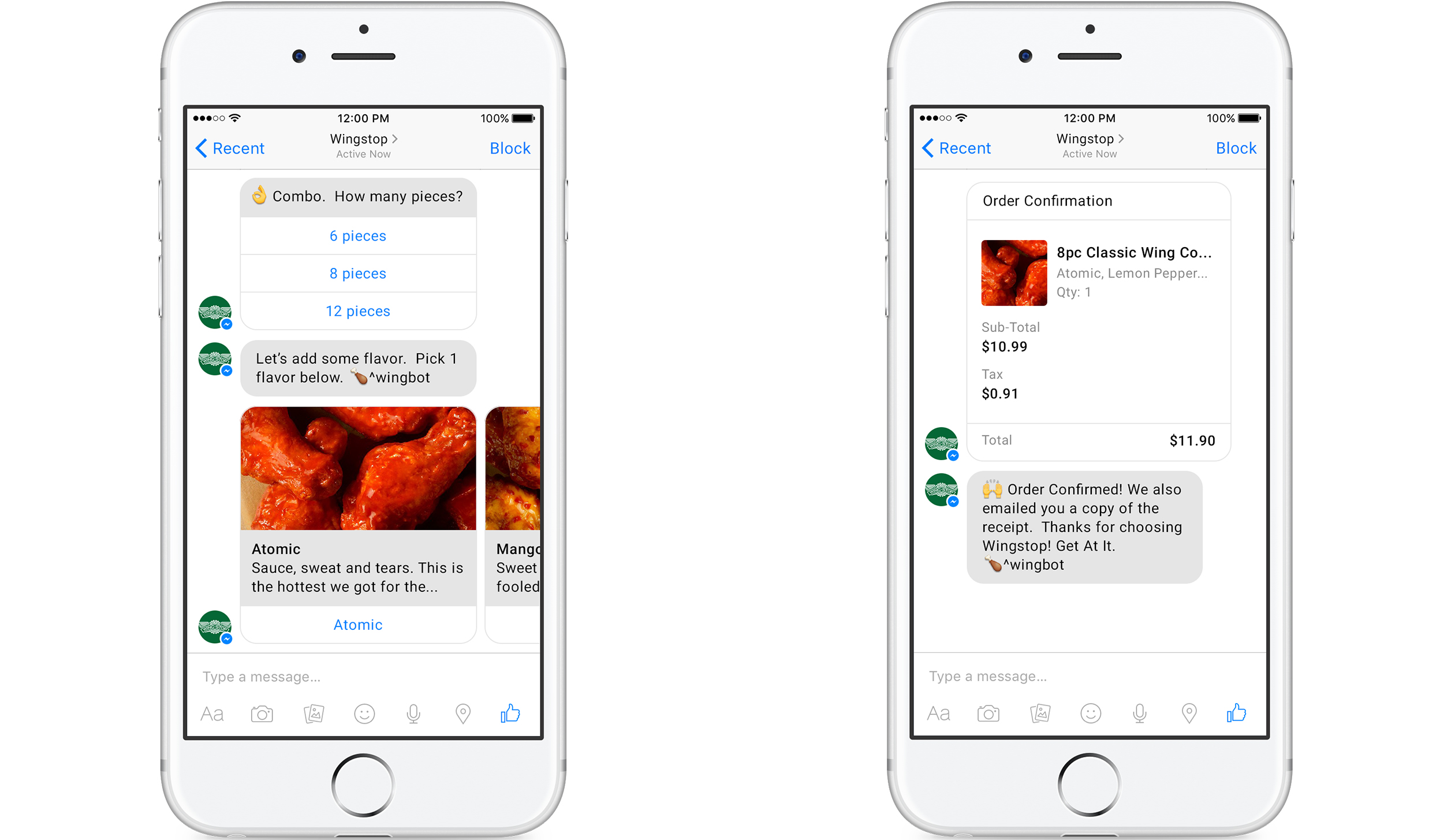 Chicken wing restaurant chain Wingstop is debuting social ordering via Twitter and Facebook Messenger.