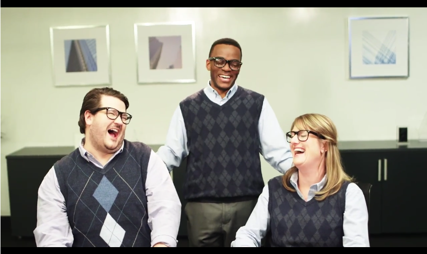 Still from a corporate diversity training video created by Second City for SAP.