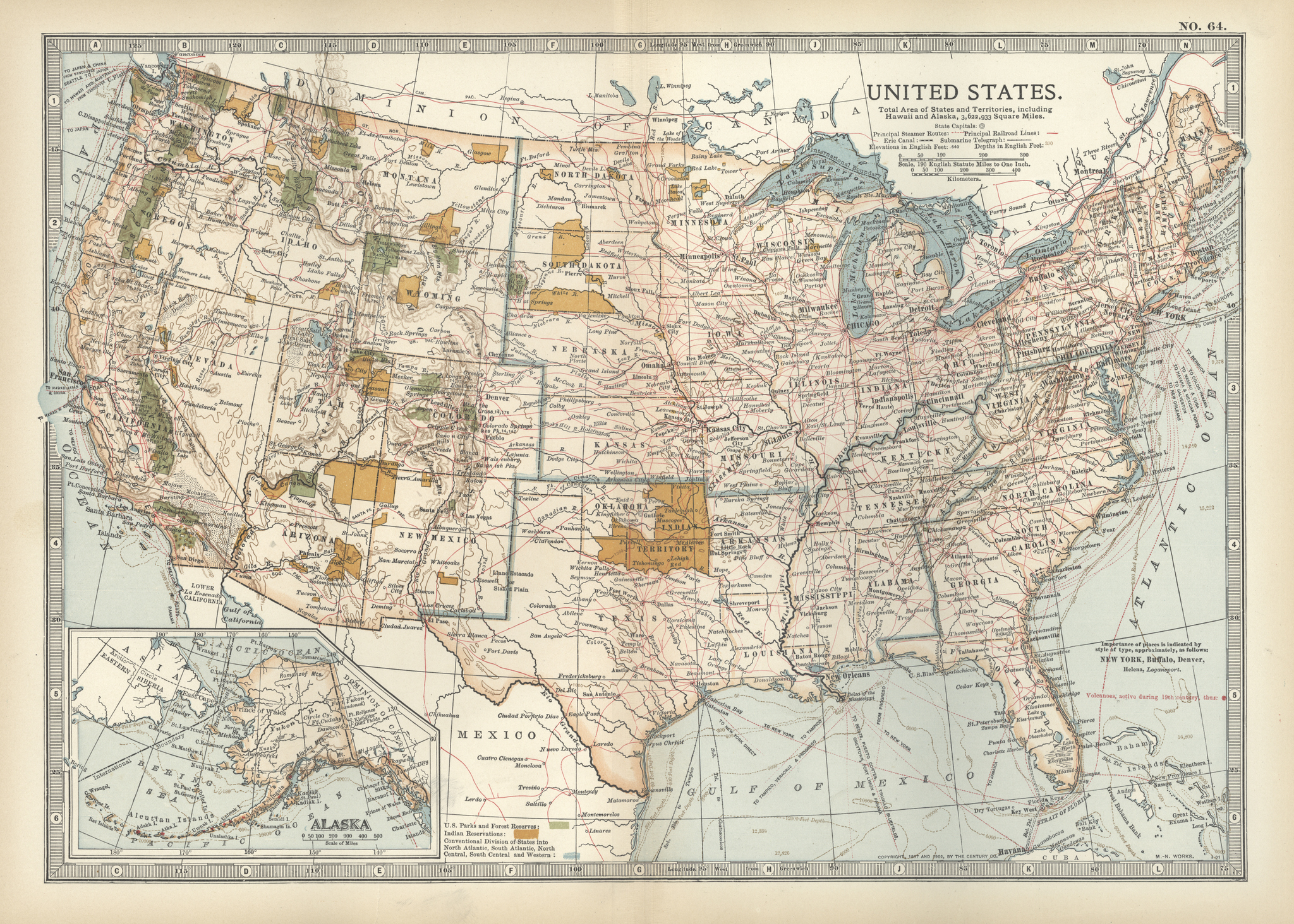 Map of the United States with inset of Alaska