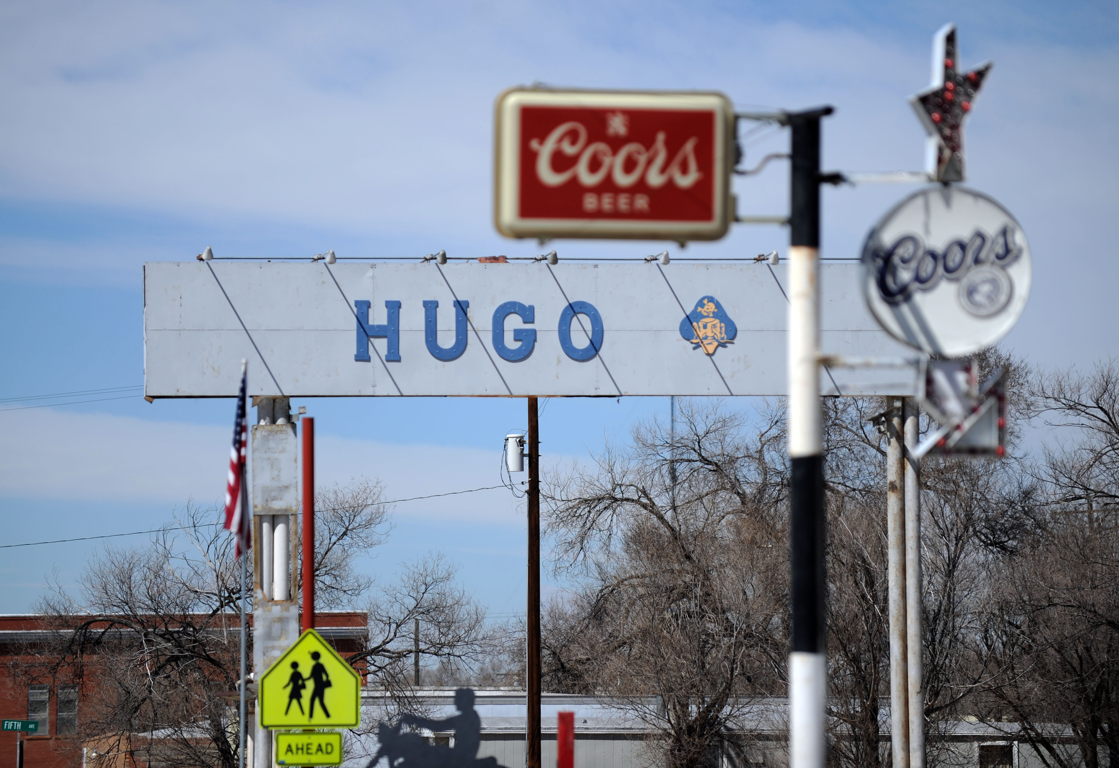 Main street of Hugo. Two elderly people were found dead Wednesday in a home near Hugo after a 16-year-old boy wrecked their truck a few miles away, according to the Colorado Bureau of Investigation. Sheriff's deputies discovered the bodies of a man and a