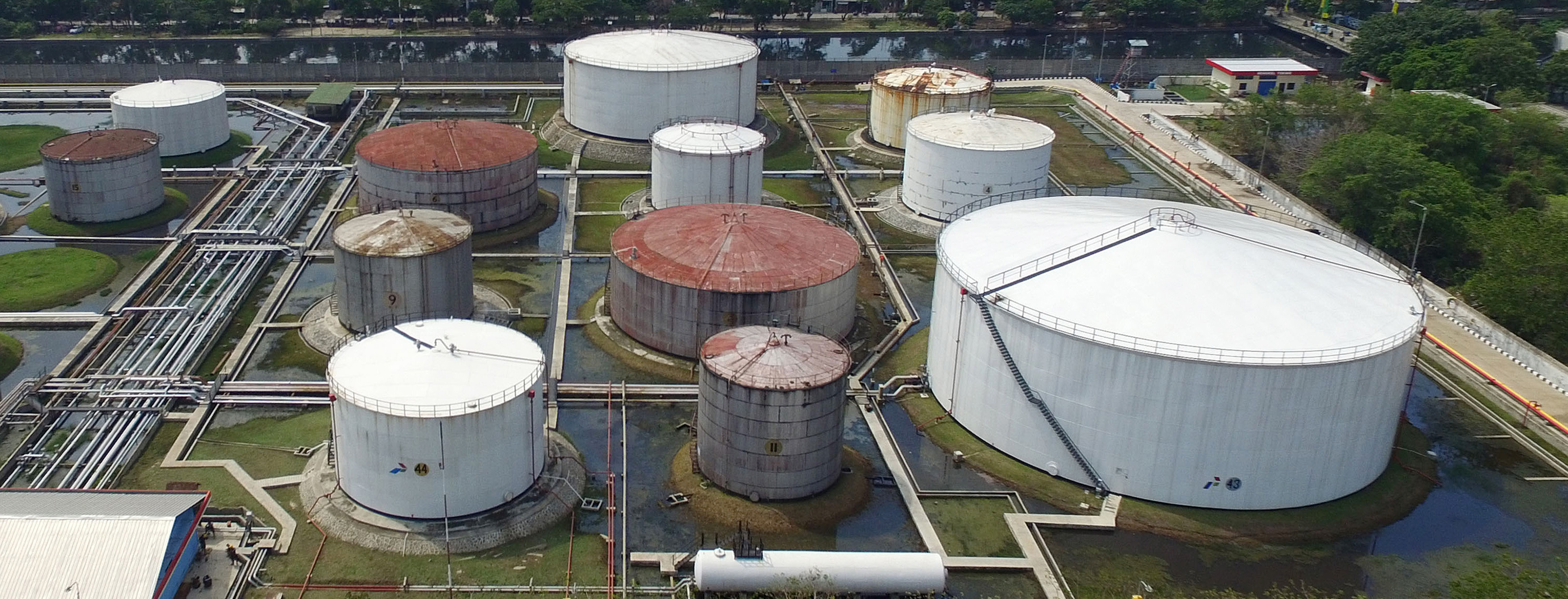 Aerial Views Of PT Pertamina Oil Tankers And Storage Facilities As Indonesia Rejoins OPEC