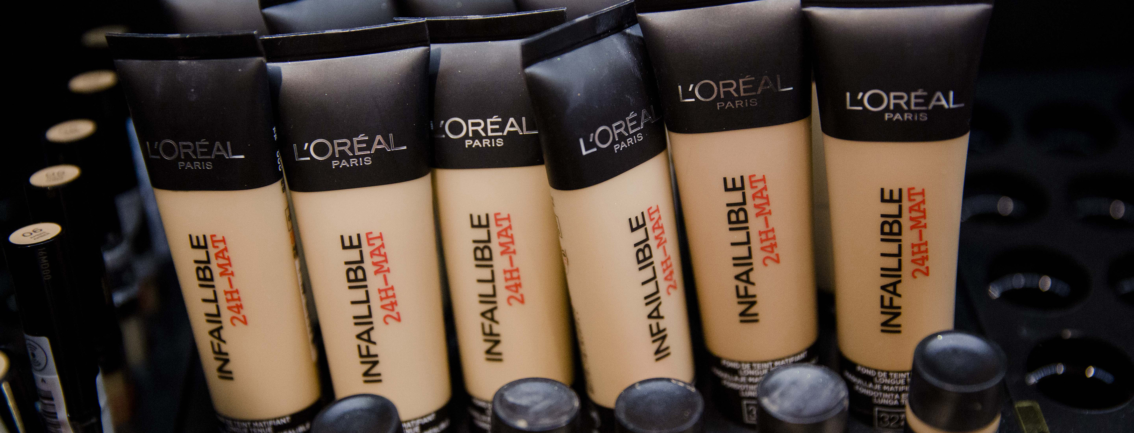 L'Oreal  Products On Display Ahead Of Paris-based Cosmetics Maker's Full Year Earnings