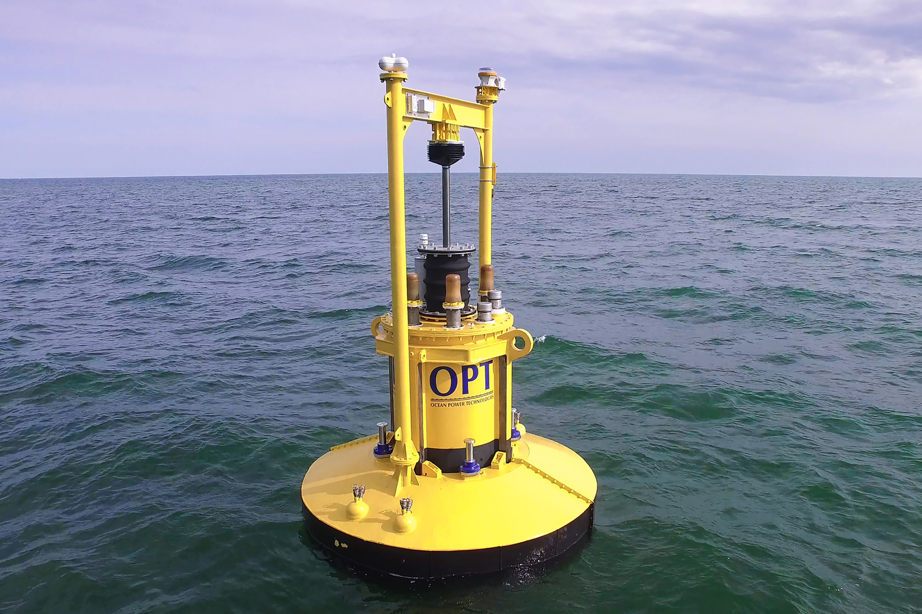 Ocean Power Technologies' PB3 power-generating buoy, deployed off the coast of New Jersey.