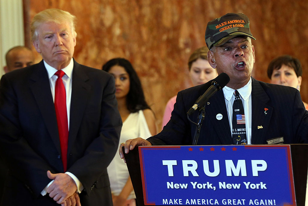 NEW YORK, NY - MAY 31:  Former Marine Al Baldasaro defends the donations of Republican presidential candidate Donald Trump at a news conference at Trump Tower where Trump addressed issues about the money he pledged to donate to veterans  groups on May 31, 2016 in New York City. Trump had previously said he had raised $6 million at the nationally broadcast fund-raiser he attended instead of the debate and that he would donate it all to veterans groups.  (Photo by Spencer Platt/Getty Images)