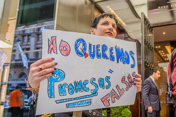 Puerto Ricans in New York gathered ouside the Park Hyatt
