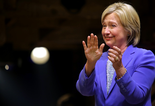 NEW YORK - JULY 12: U.S. Presidential candidate Hillary Clinton (D-NY) greets the audience after speaking at the Richard Rodgers Theatre following a special performance of the Broadway musical Hamilton in New York City on July 12, 2016. (Photo by Yana Paskova/Getty Images)