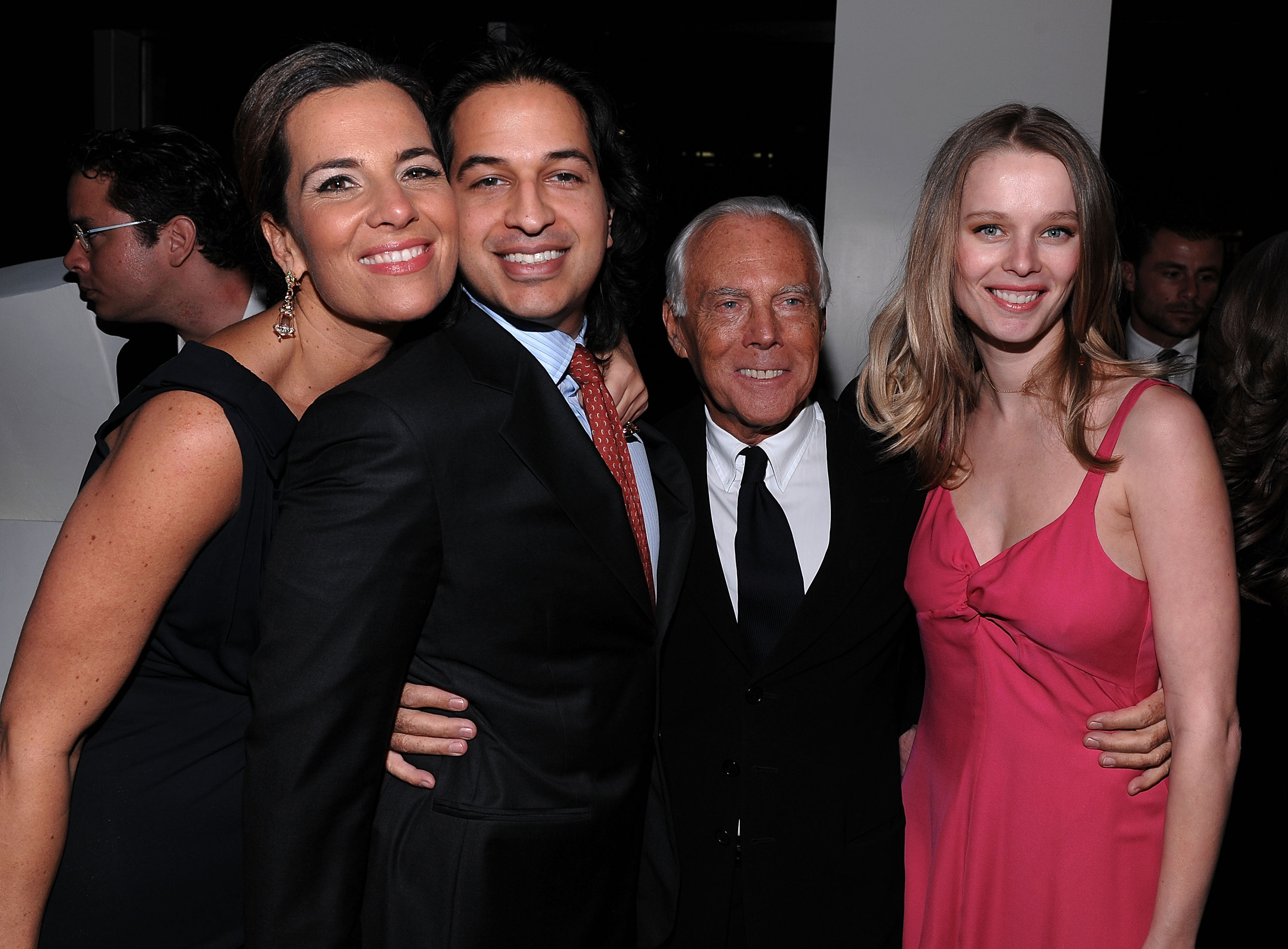 Amanat (2nd from left ) in 2009 with Giorgio Armani, Amanat's then-wife Helena Houdova (right), and Armani's niece Roberta Armani.